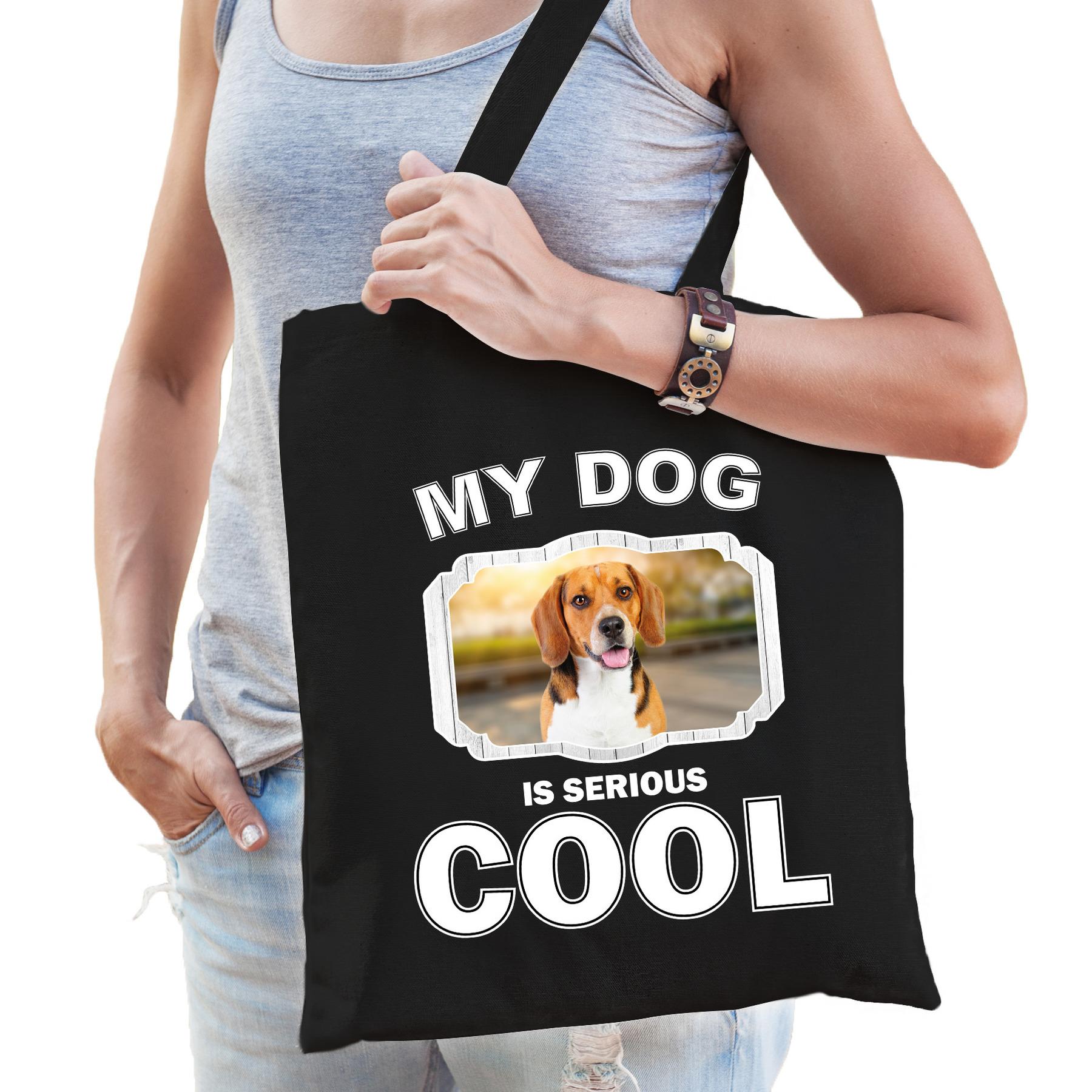 Katoenen tasje my dog is serious cool zwart - Beagle honden cadeau tas