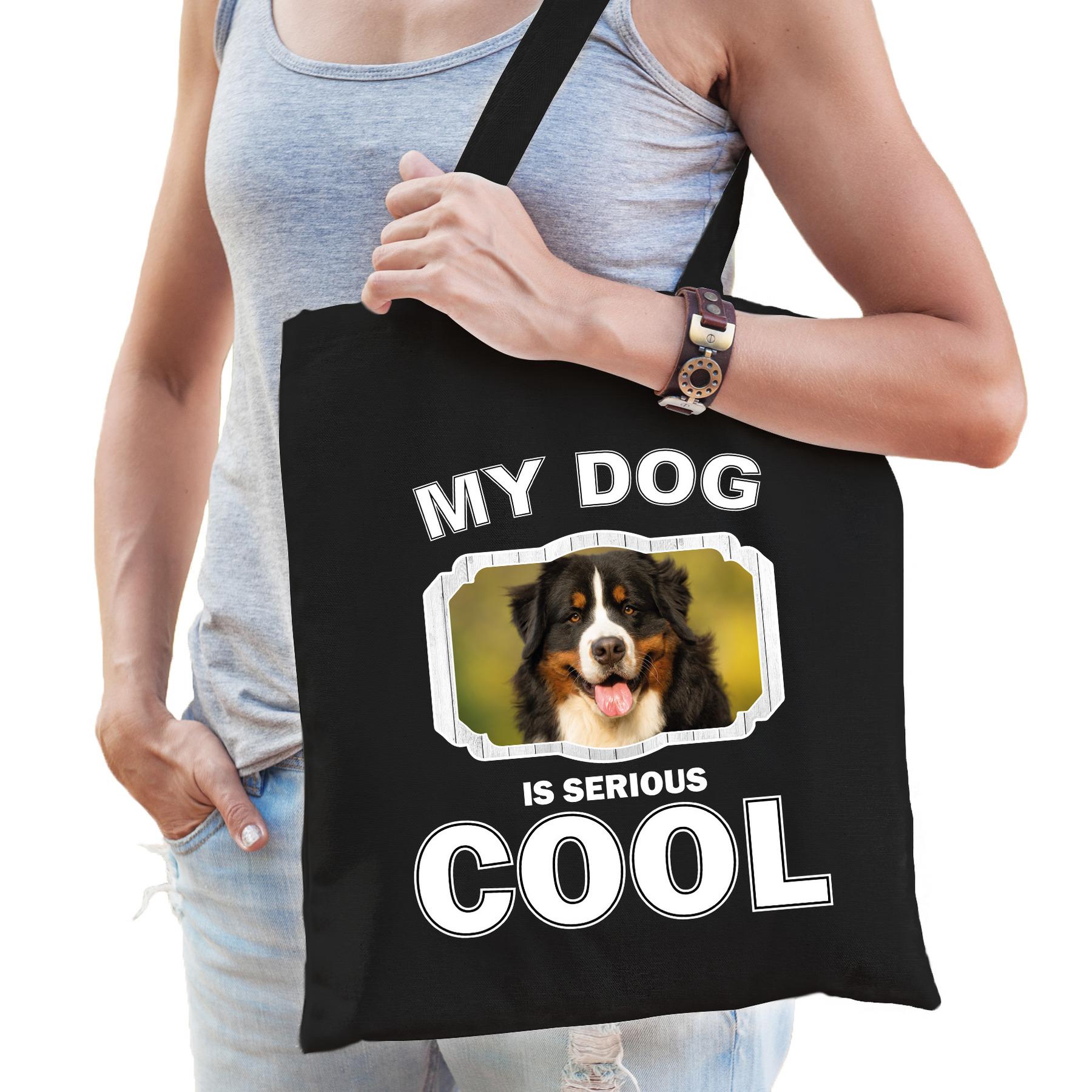 Katoenen tasje my dog is serious cool zwart - Berner sennen honden cadeau tas