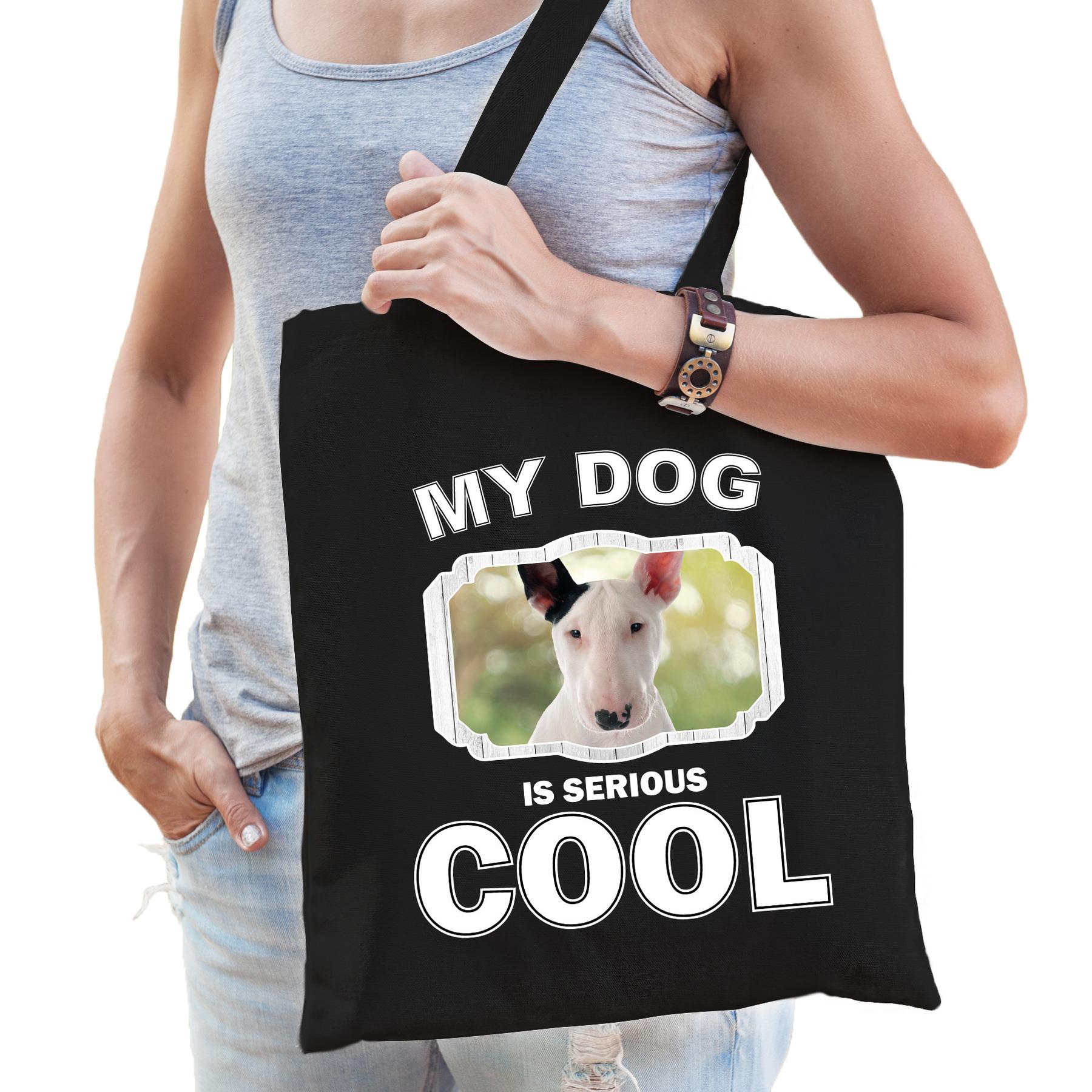 Katoenen tasje my dog is serious cool zwart - Bullterrier honden cadeau tas