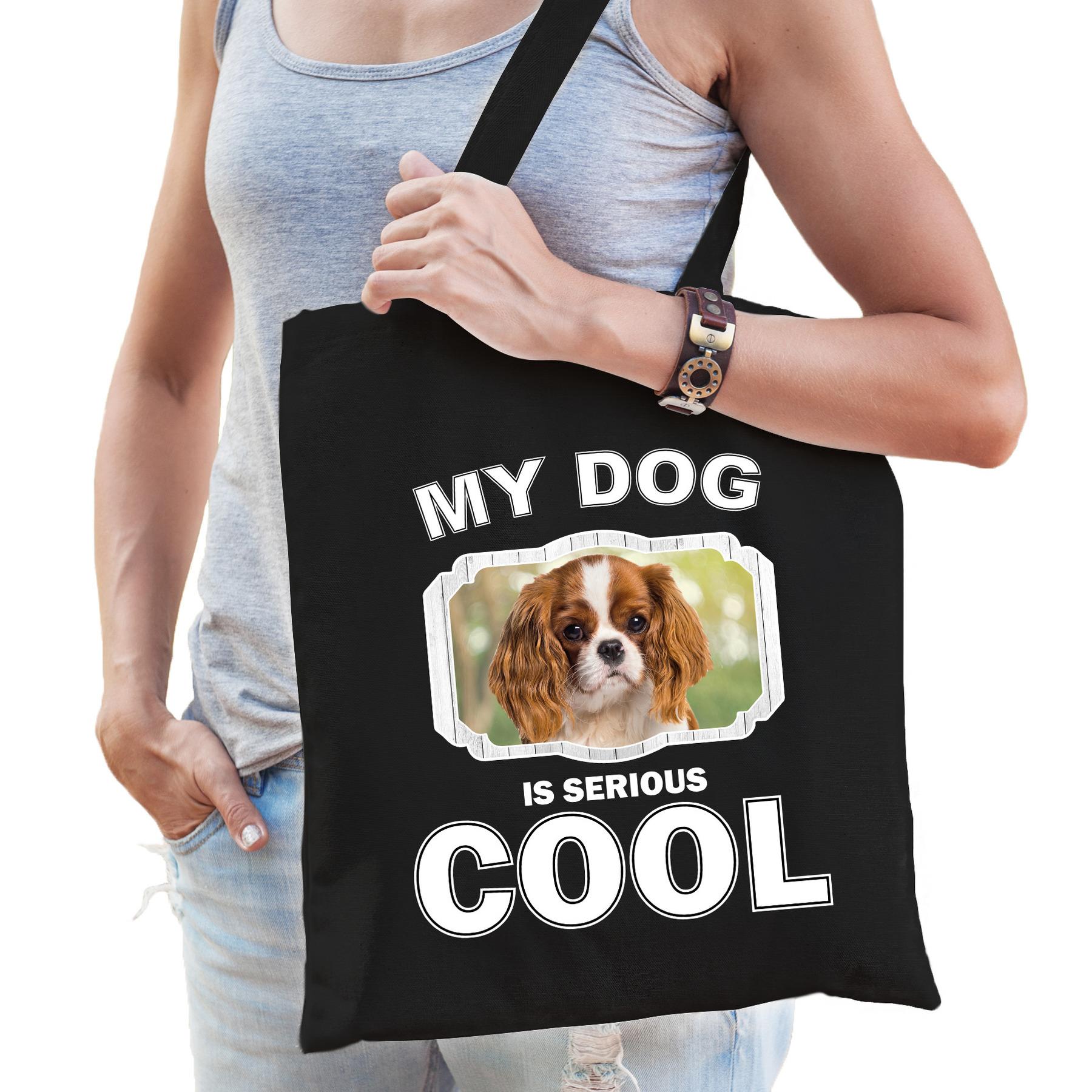 Katoenen tasje my dog is serious cool zwart - Charles spaniel honden cadeau tas