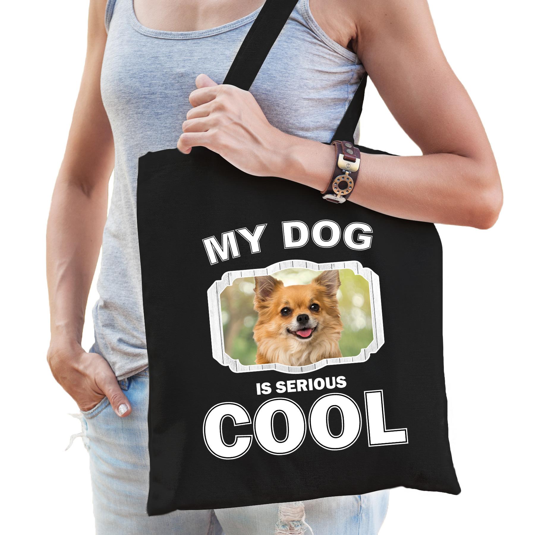 Katoenen tasje my dog is serious cool zwart - Chihuahua honden cadeau tas
