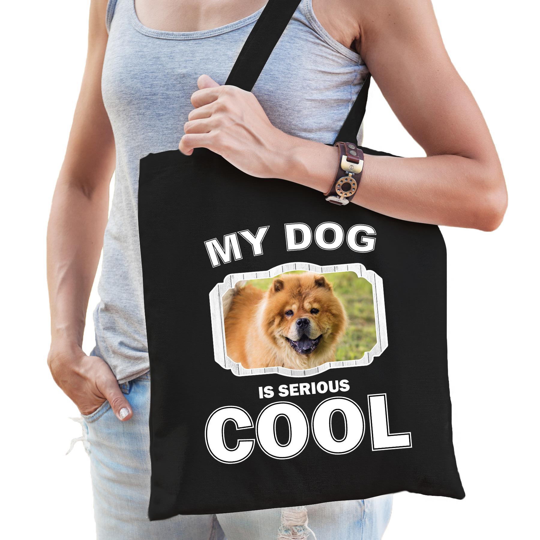 Katoenen tasje my dog is serious cool zwart - Chow chow honden cadeau tas