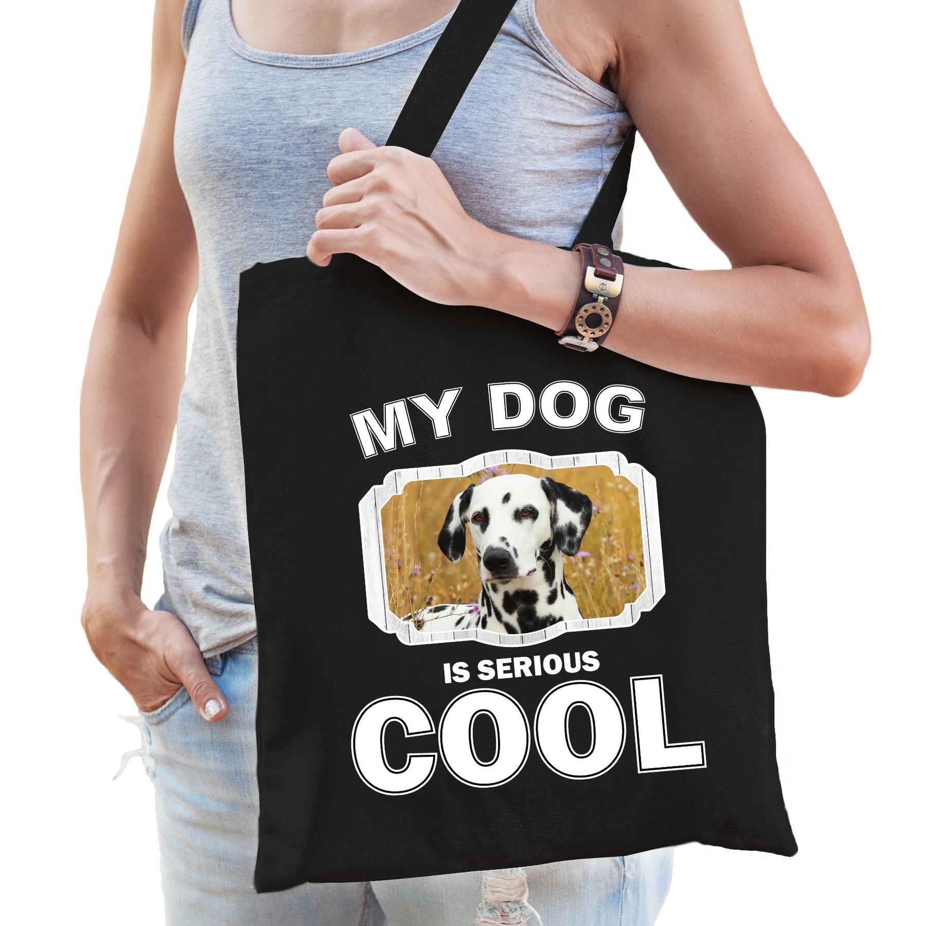 Katoenen tasje my dog is serious cool zwart - Dalmatier honden cadeau tas