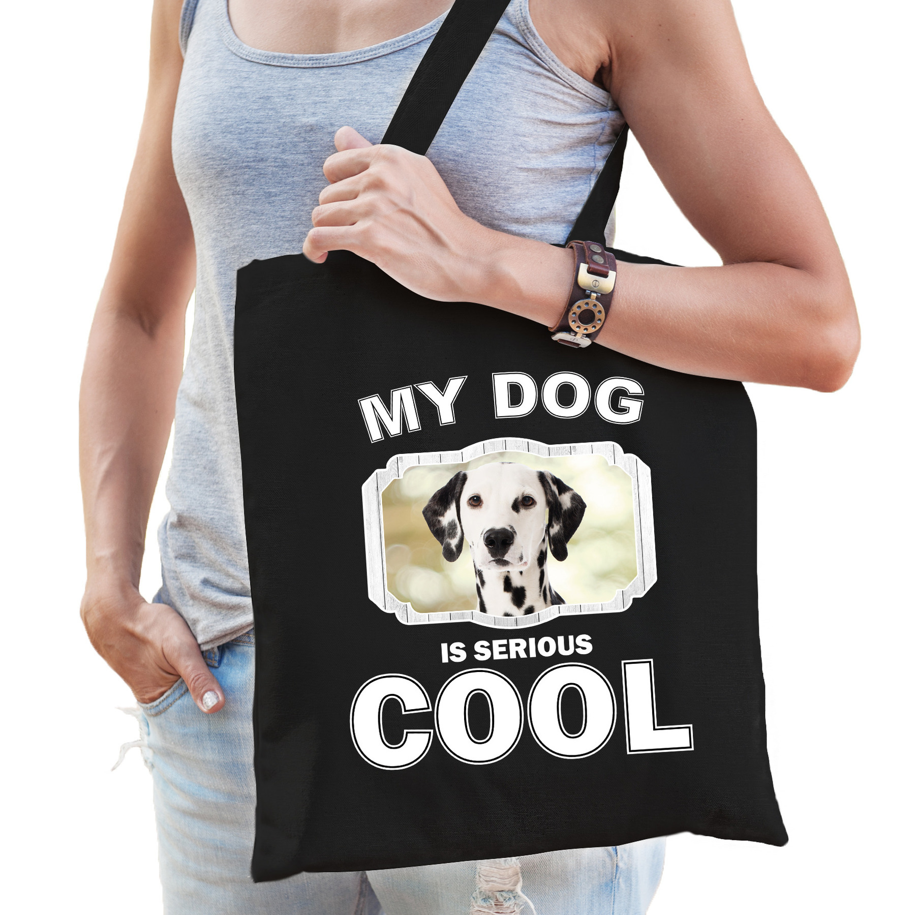 Katoenen tasje my dog is serious cool zwart - Dalmatier honden cadeau tas