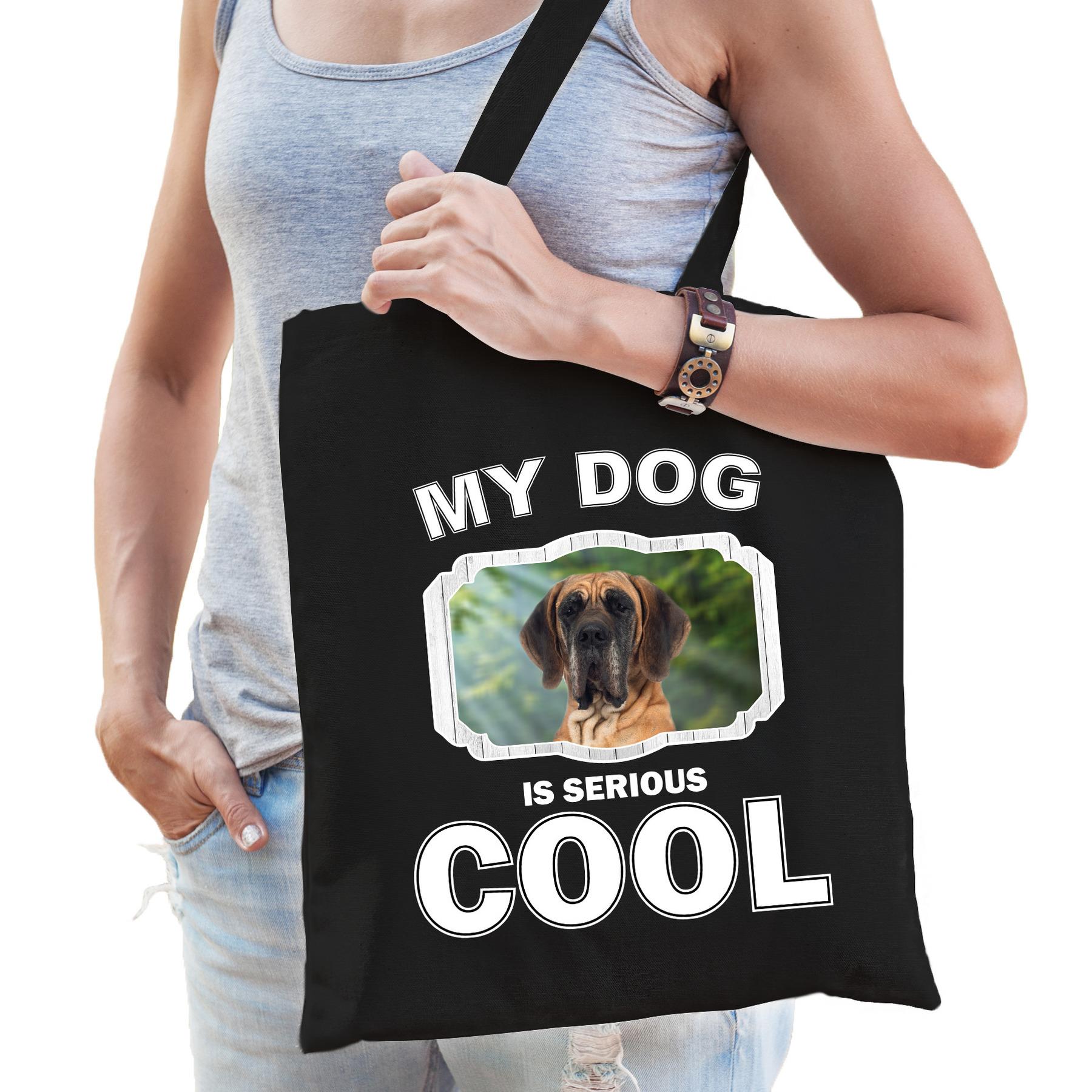 Katoenen tasje my dog is serious cool zwart - Deense dog honden cadeau tas