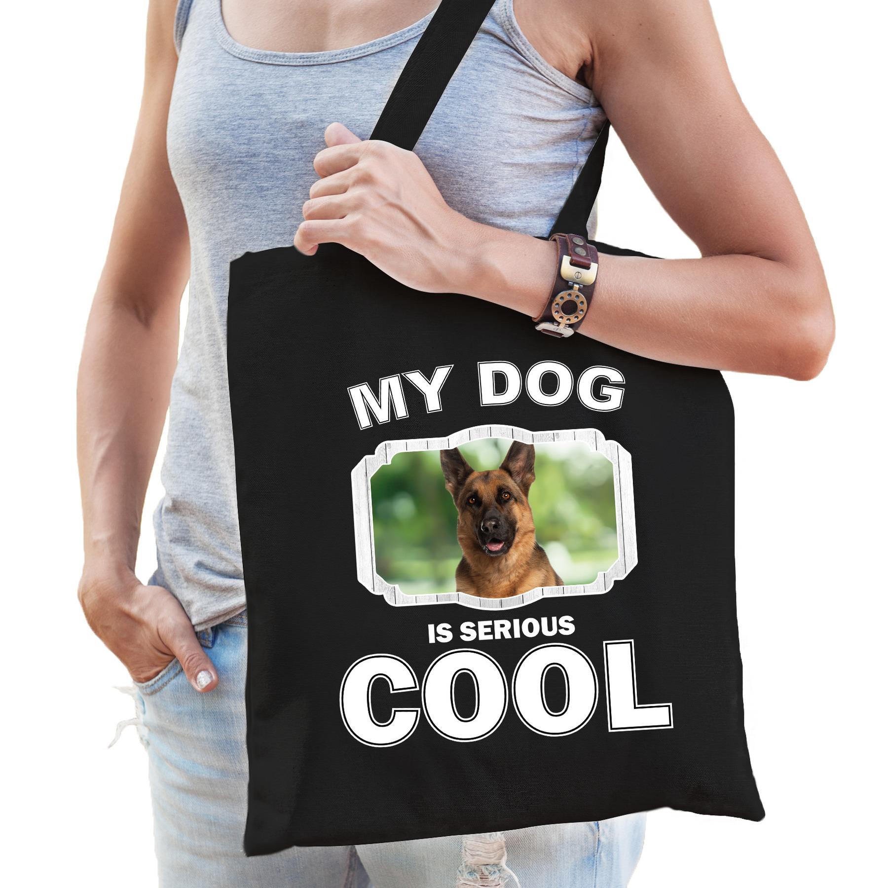 Katoenen tasje my dog is serious cool zwart - Duitse herder honden cadeau tas