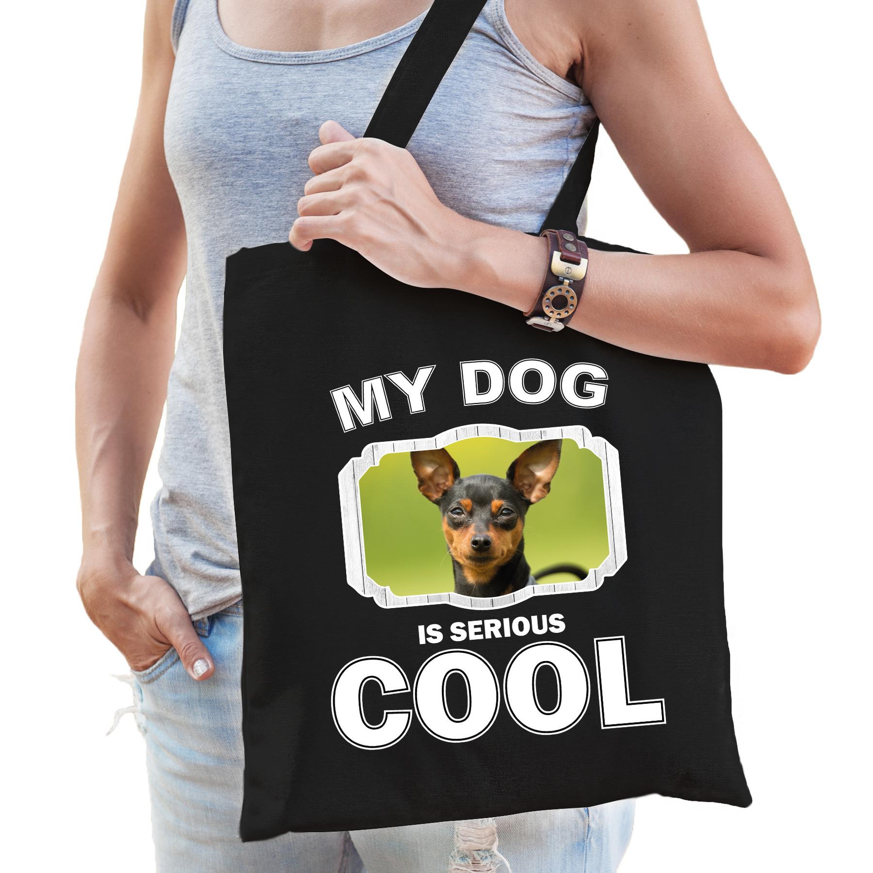 Katoenen tasje my dog is serious cool zwart - Dwergpinscher honden cadeau tas
