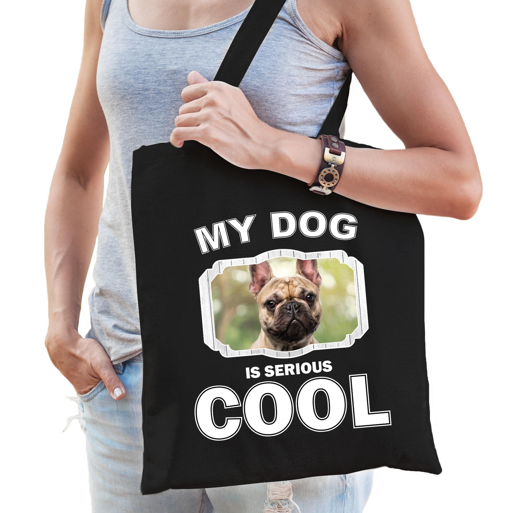 Katoenen tasje my dog is serious cool zwart - Franse bulldog honden cadeau tas