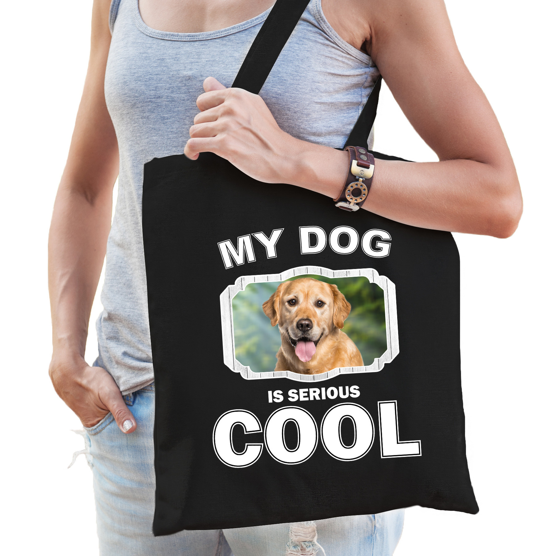 Katoenen tasje my dog is serious cool zwart - Golden Retriever honden cadeau tas