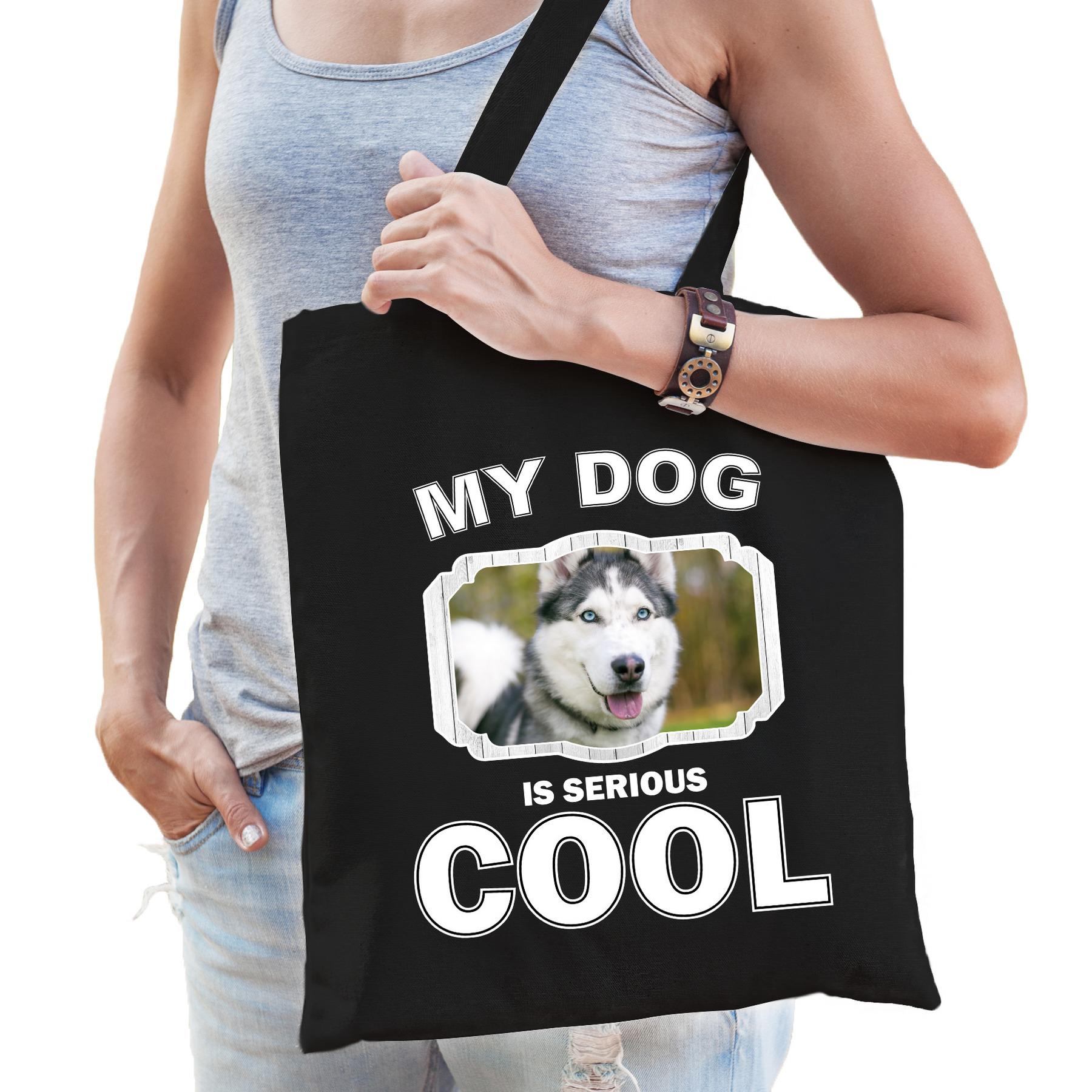 Katoenen tasje my dog is serious cool zwart - Husky honden cadeau tas