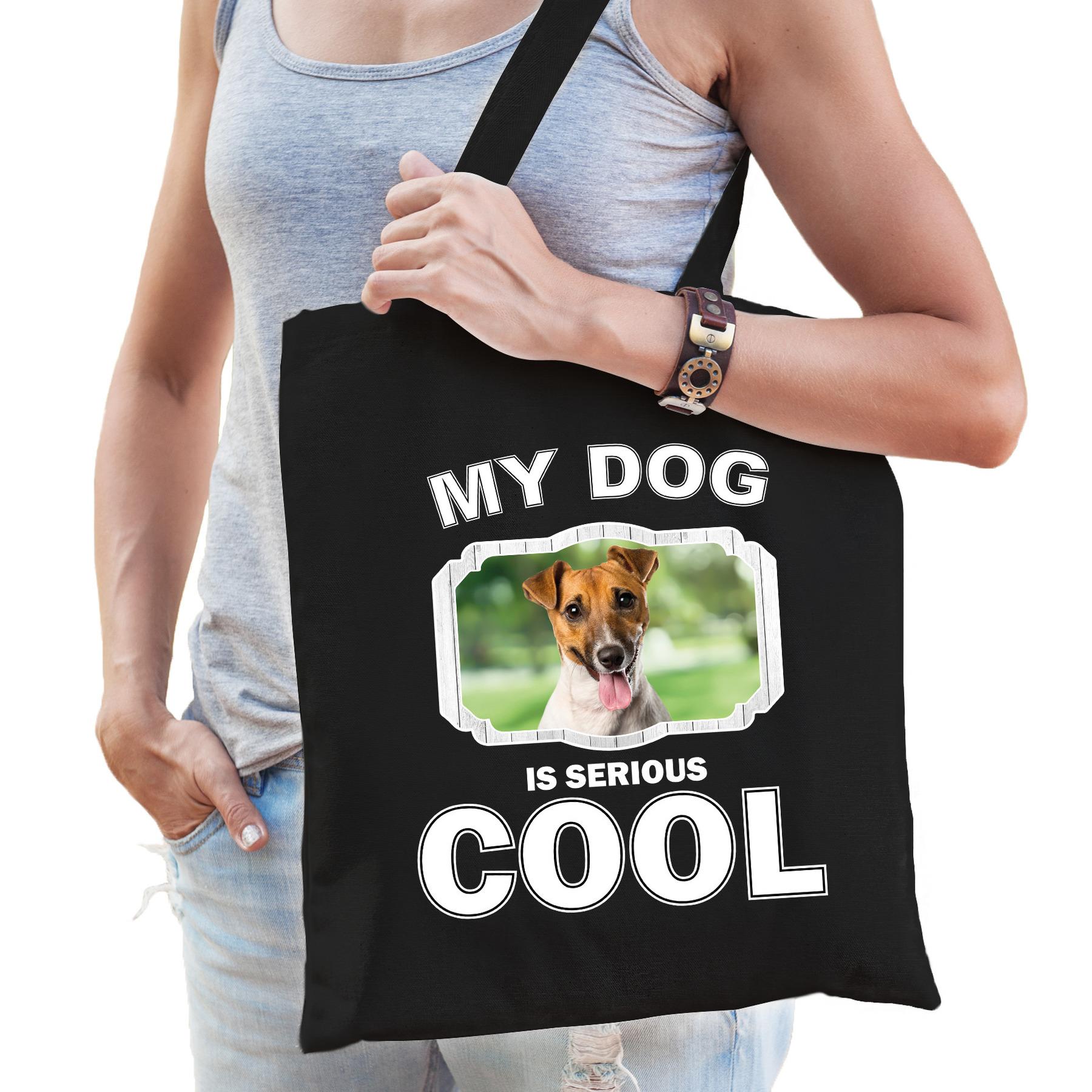 Katoenen tasje my dog is serious cool zwart - Jack russel honden cadeau tas