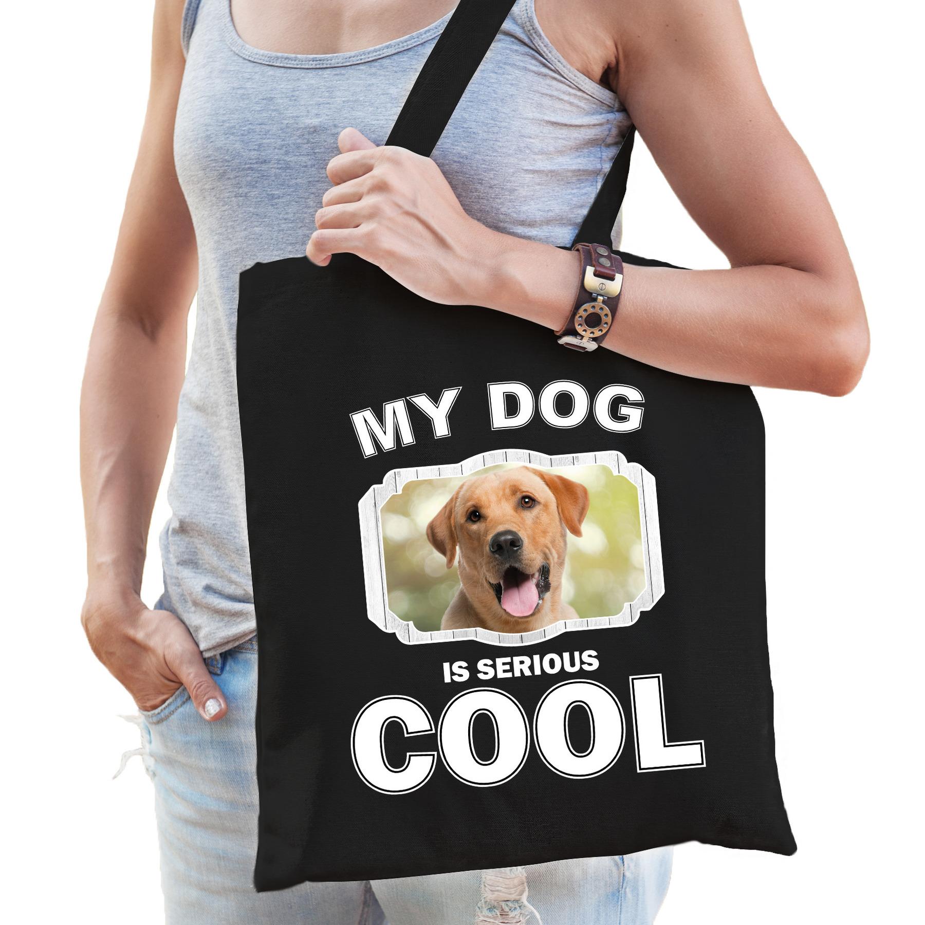 Katoenen tasje my dog is serious cool zwart - Labrador retriever honden cadeau tas