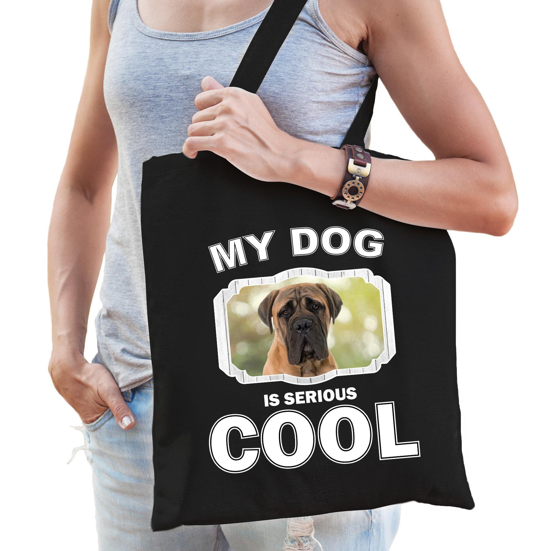 Katoenen tasje my dog is serious cool zwart - Mastiff honden cadeau tas