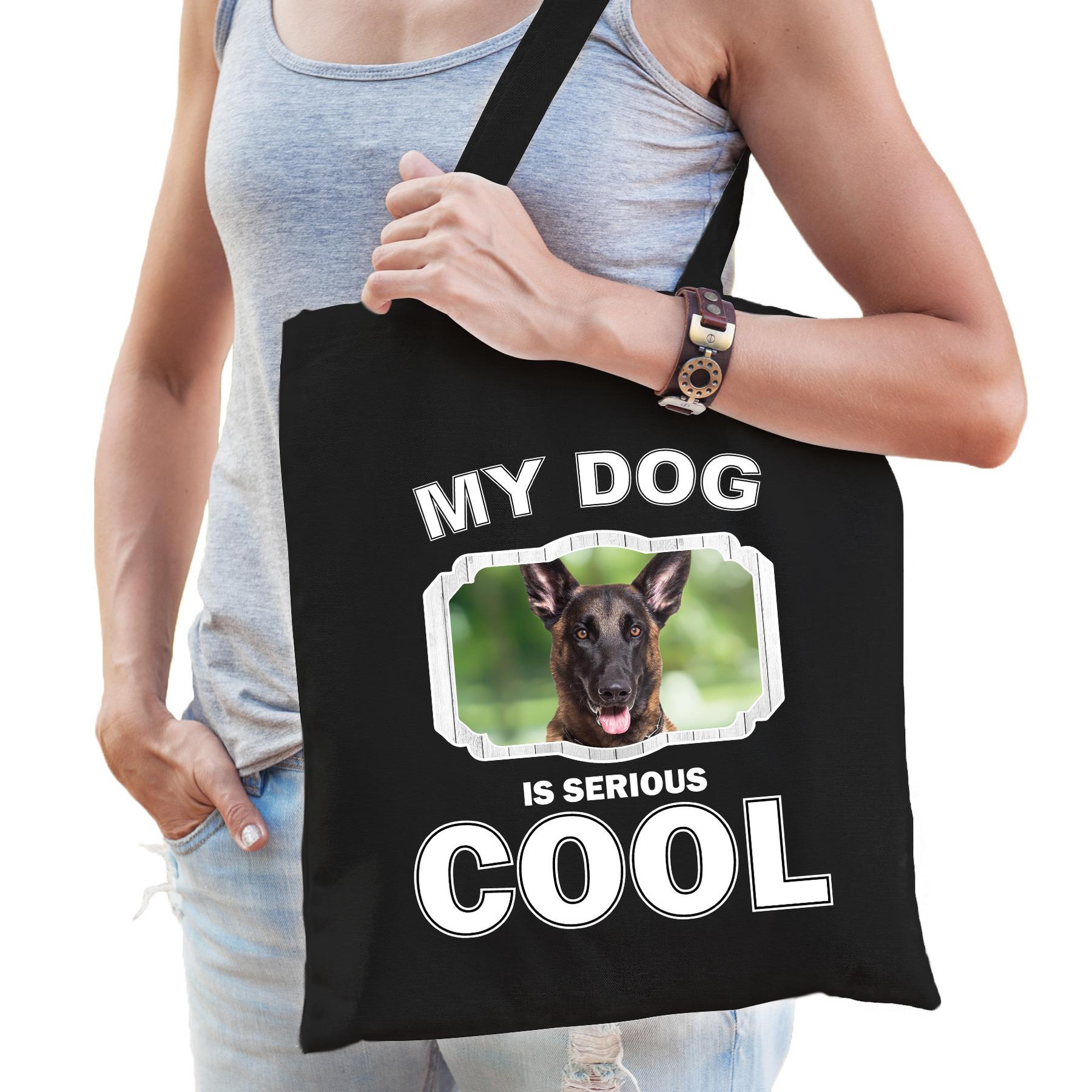 Katoenen tasje my dog is serious cool zwart - Mechelse herder honden cadeau tas