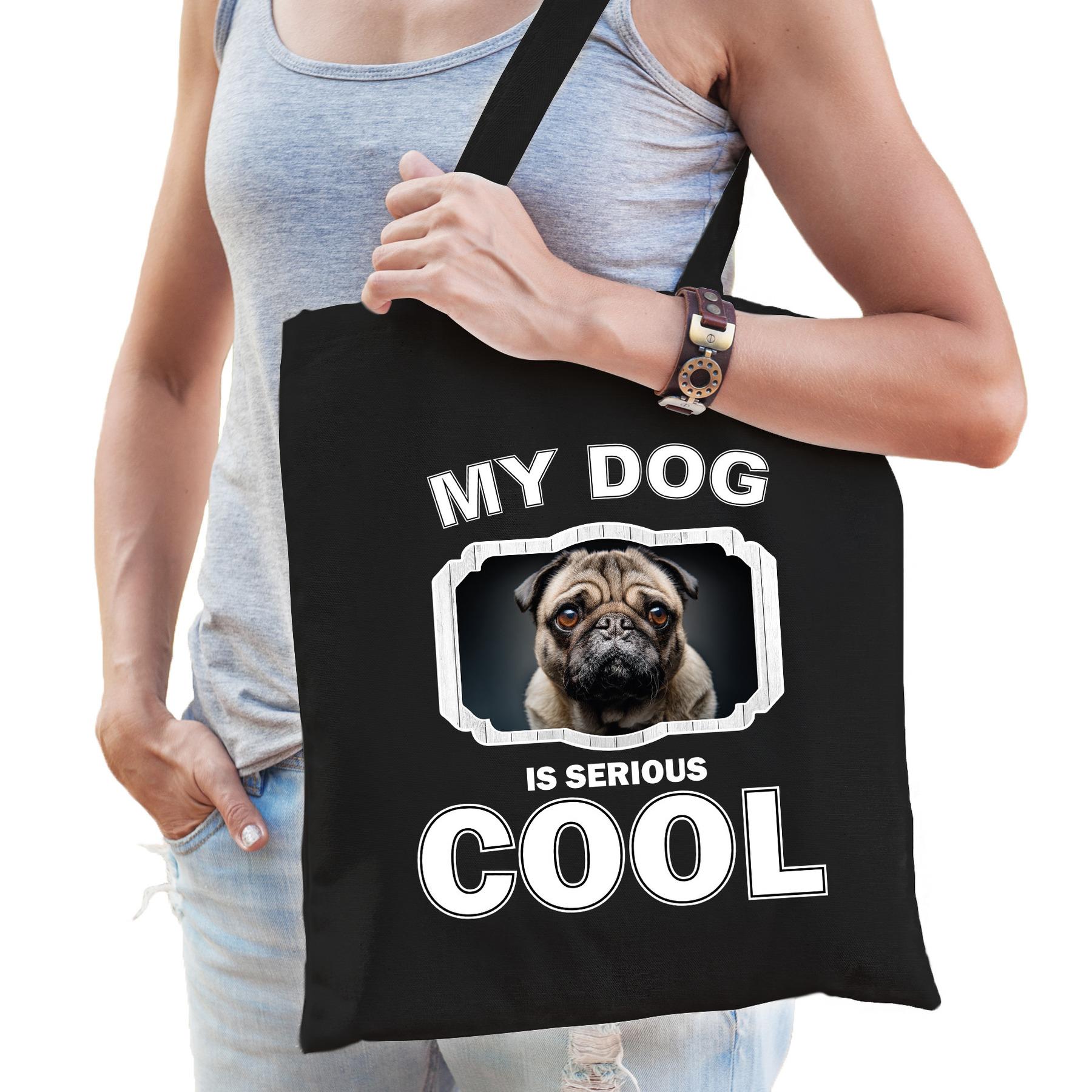 Katoenen tasje my dog is serious cool zwart - mopshond honden cadeau tas