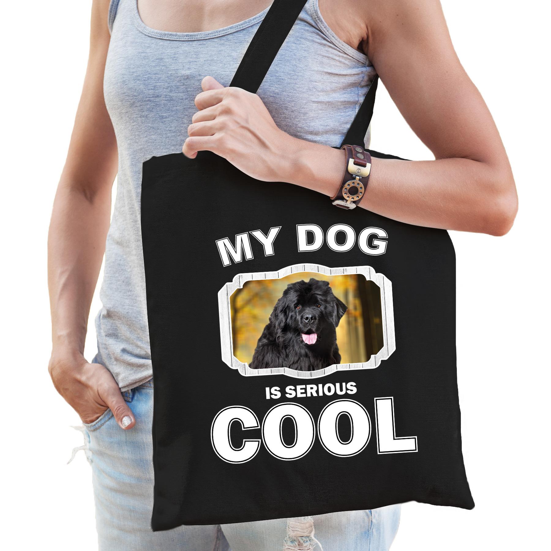 Katoenen tasje my dog is serious cool zwart - Newfoundlander honden cadeau tas