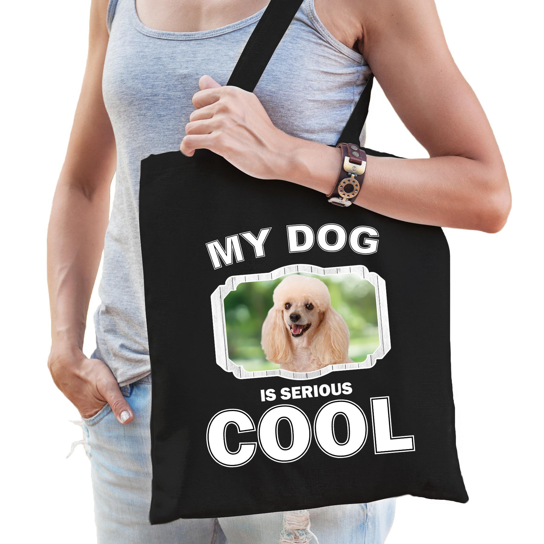 Katoenen tasje my dog is serious cool zwart - Poedel honden cadeau tas