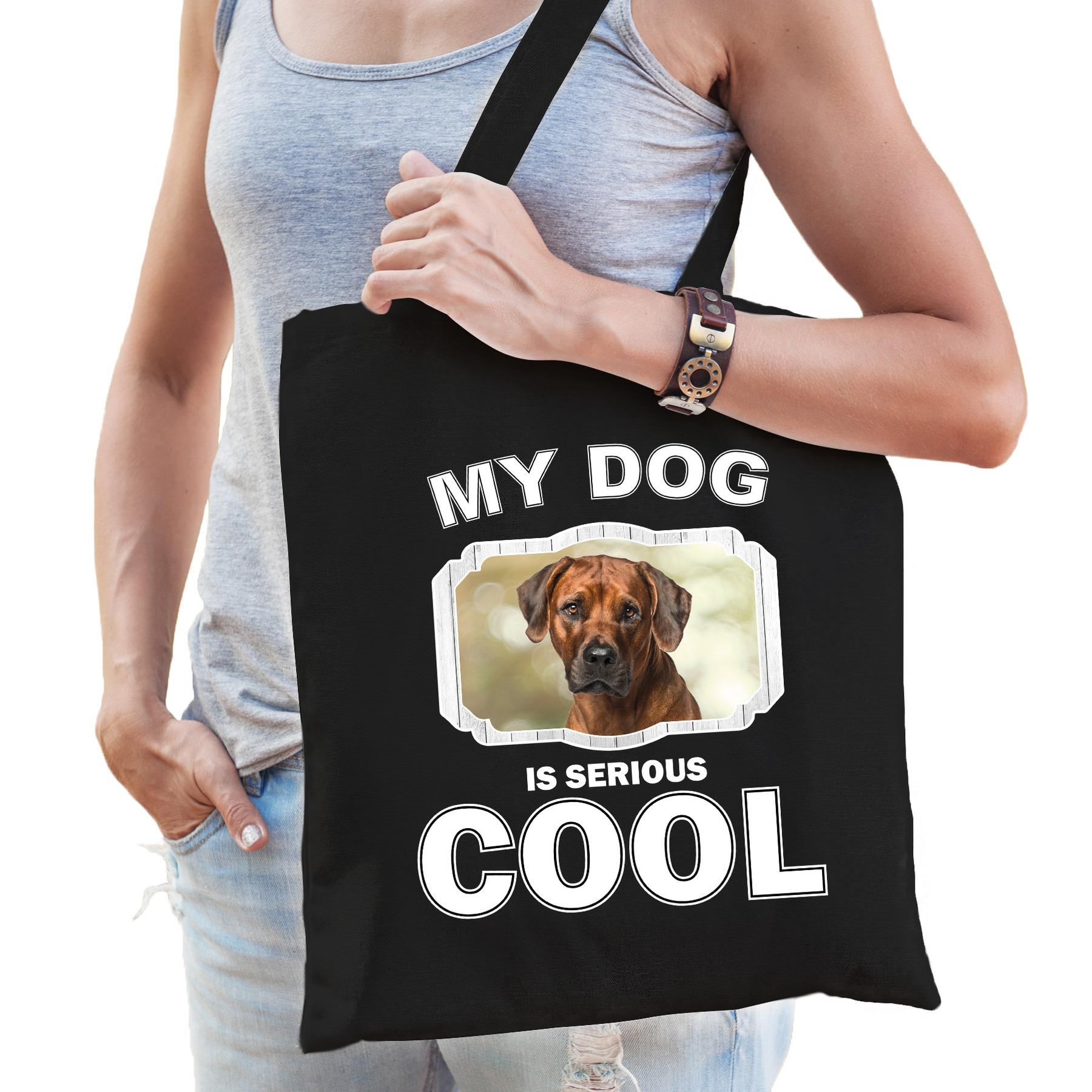 Katoenen tasje my dog is serious cool zwart - Rhodesische pronkrug honden cadeau tas