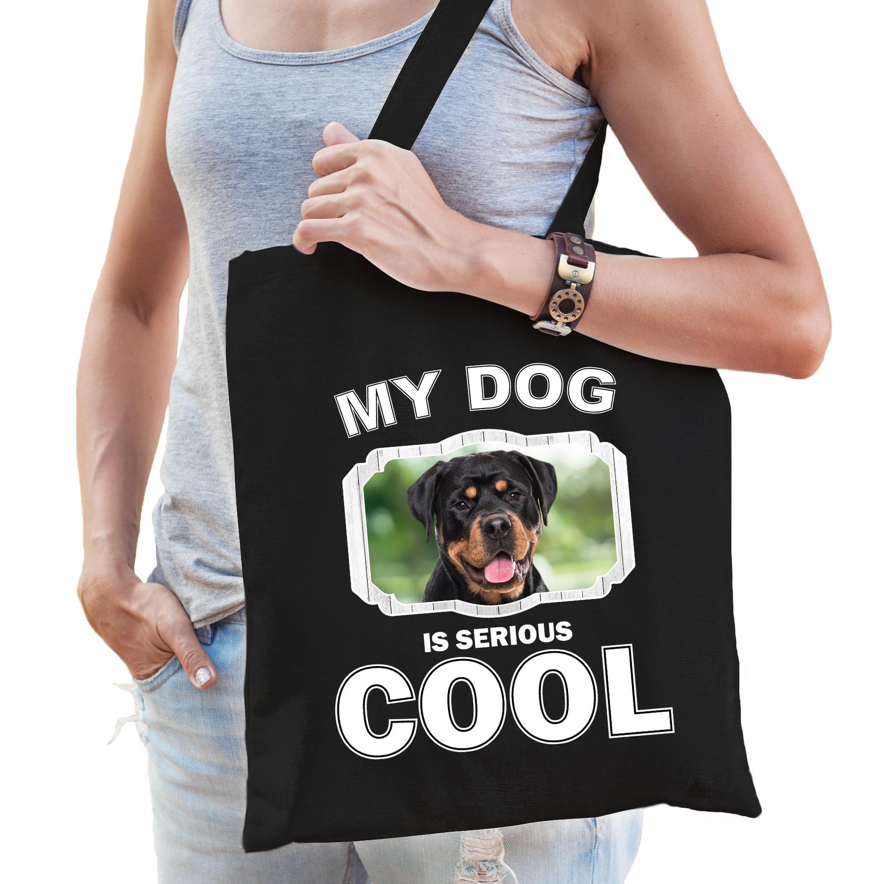 Katoenen tasje my dog is serious cool zwart - Rottweiler honden cadeau tas