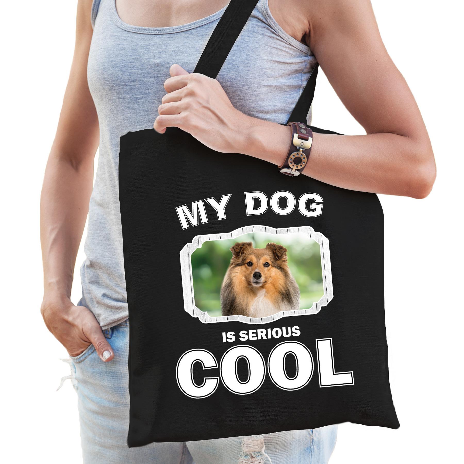 Katoenen tasje my dog is serious cool zwart - Sheltie honden cadeau tas
