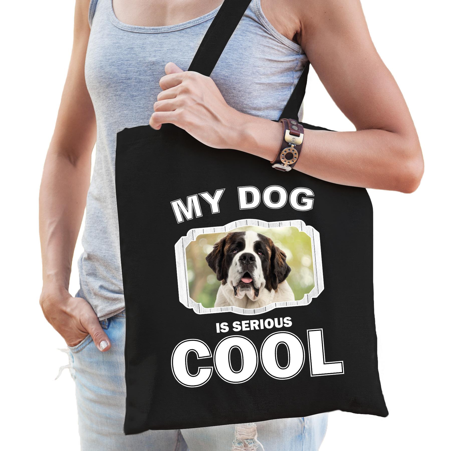 Katoenen tasje my dog is serious cool zwart - Sint bernard honden cadeau tas