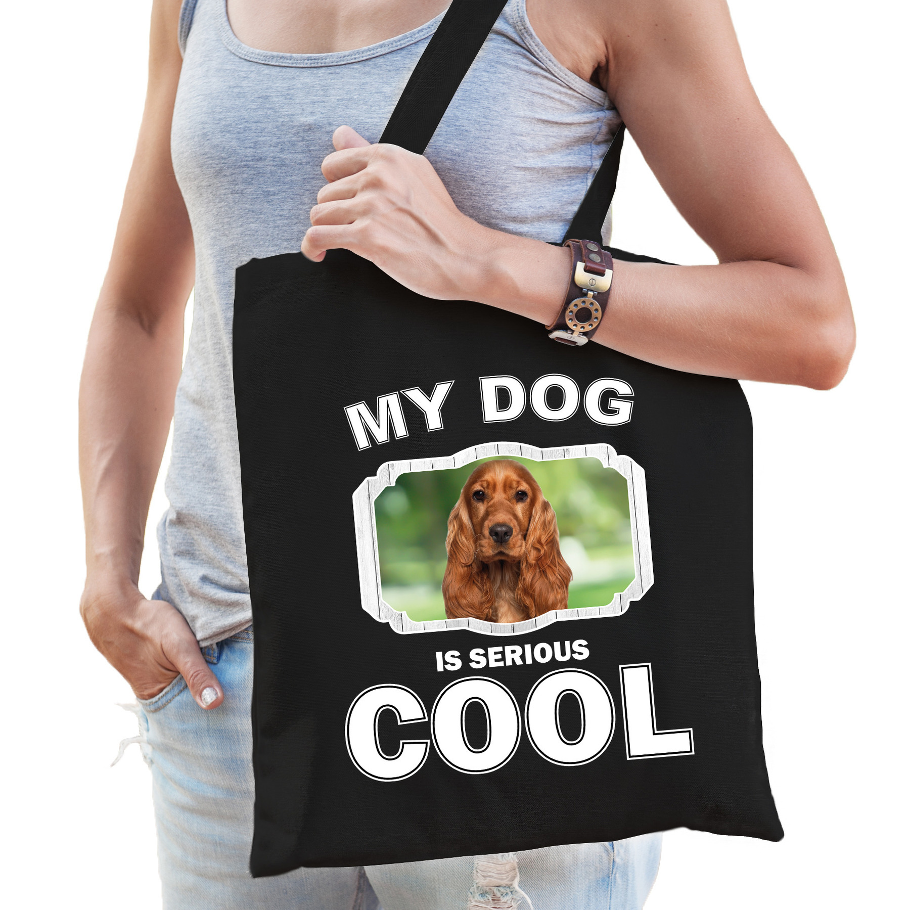 Katoenen tasje my dog is serious cool zwart - Spaniel honden cadeau tas