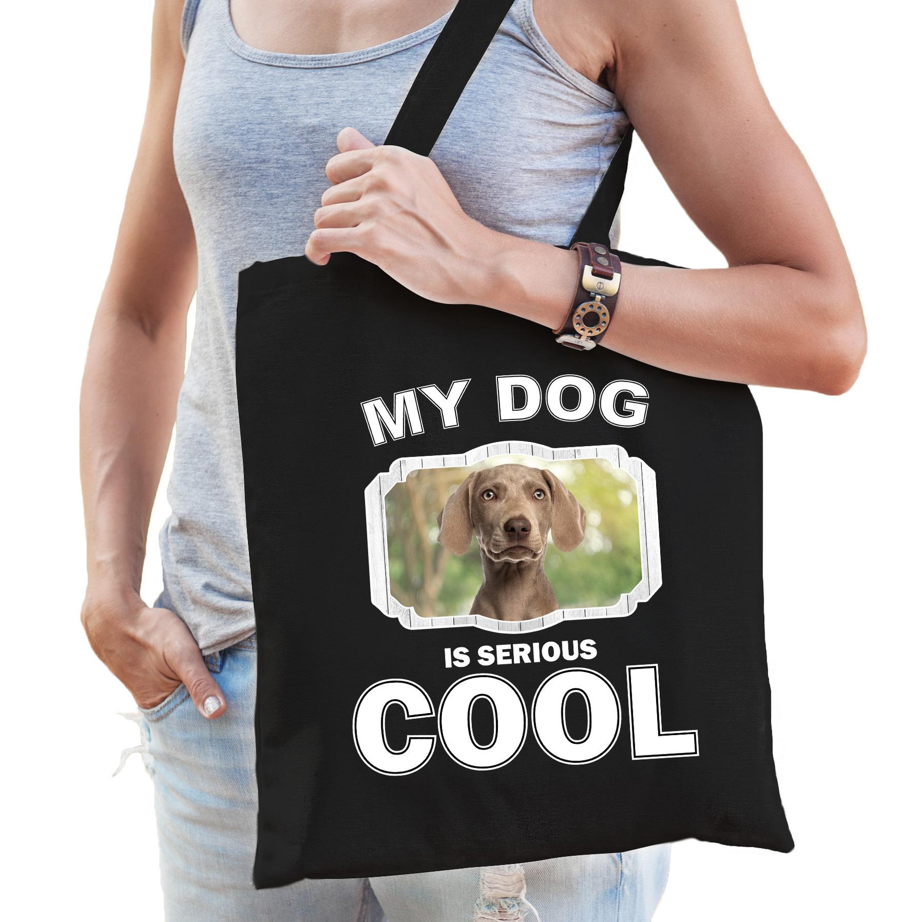 Katoenen tasje my dog is serious cool zwart - Weimaraner honden cadeau tas