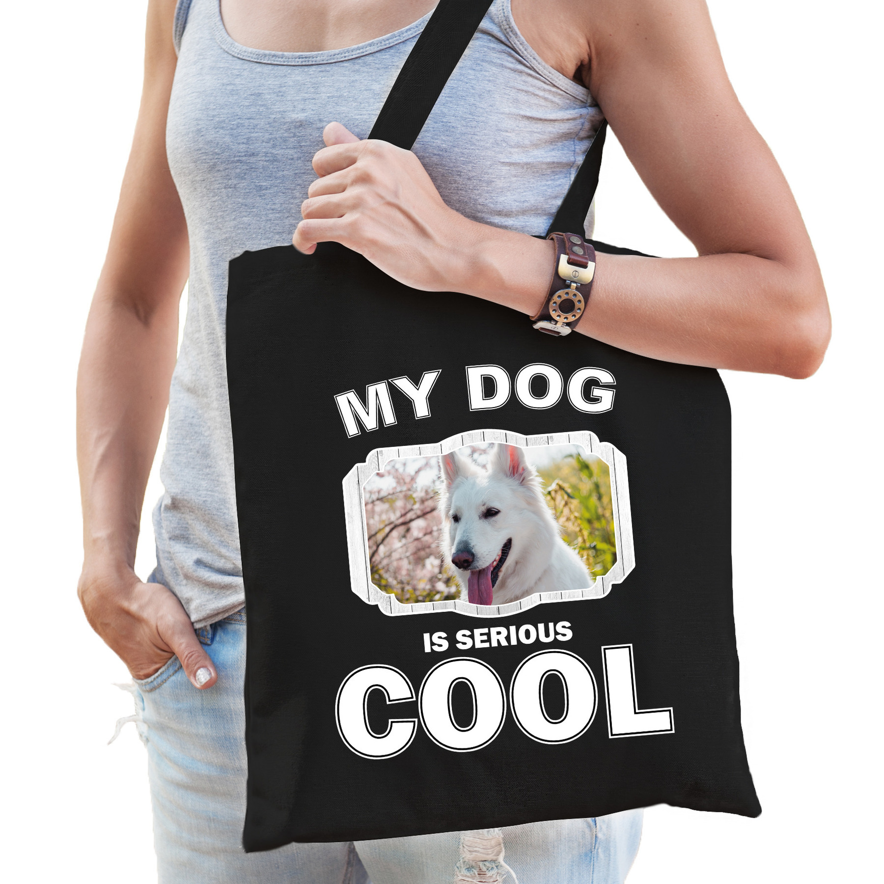 Katoenen tasje my dog is serious cool zwart - Witte herder honden cadeau tas