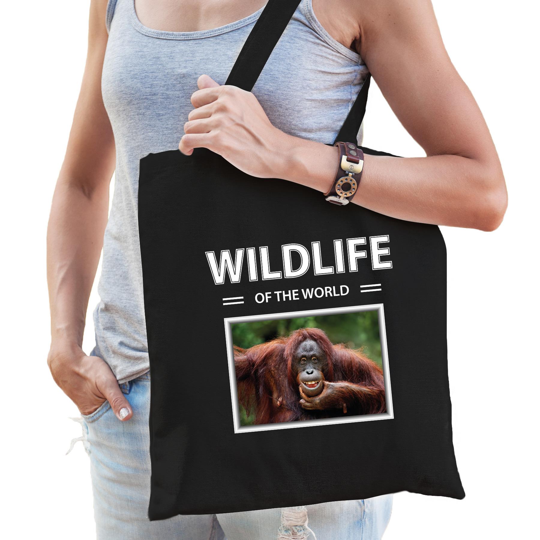Katoenen tasje Orang oetan apen zwart - wildlife of the world Aap cadeau tas