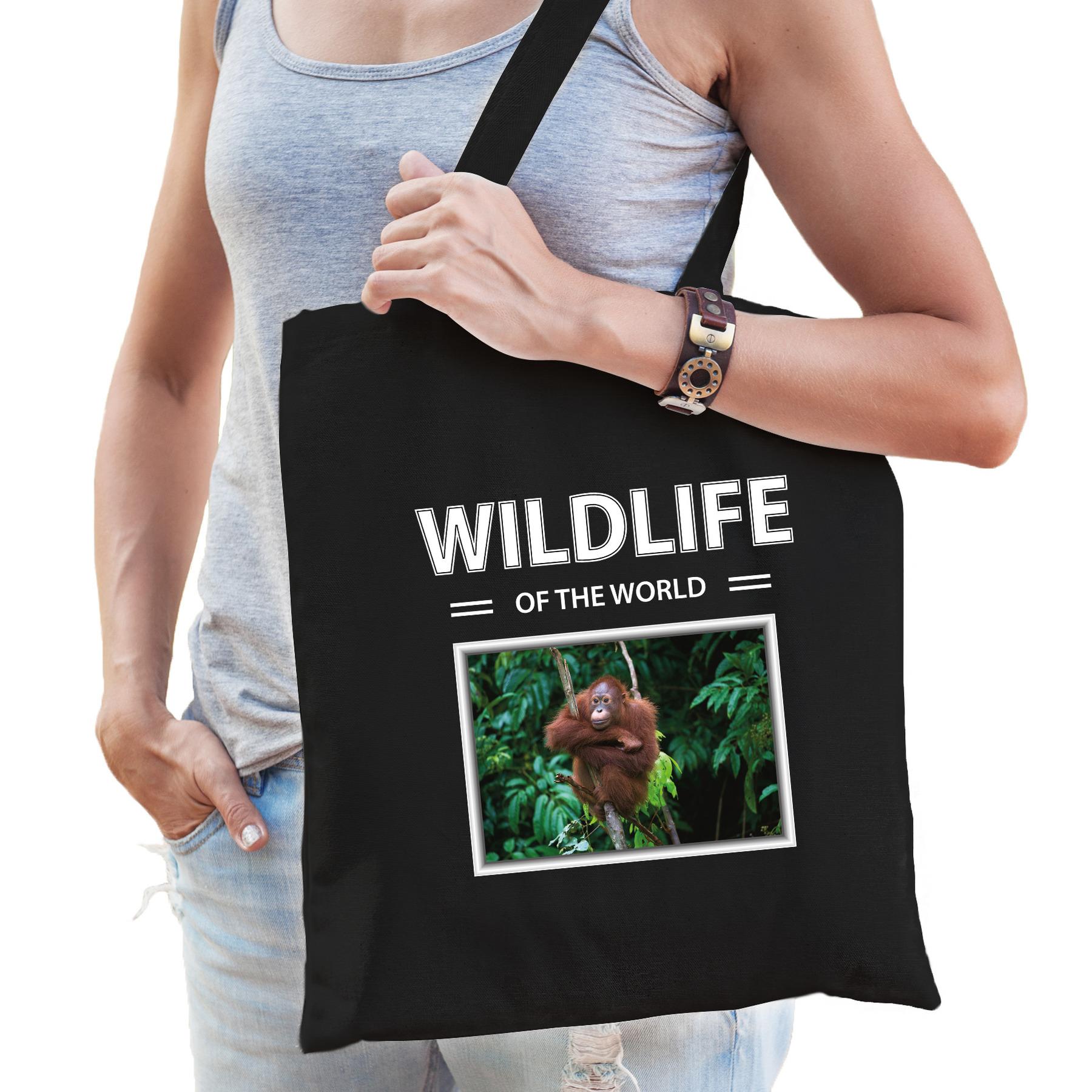 Katoenen tasje Orang oetans zwart - wildlife of the world Orang oetan aap cadeau tas