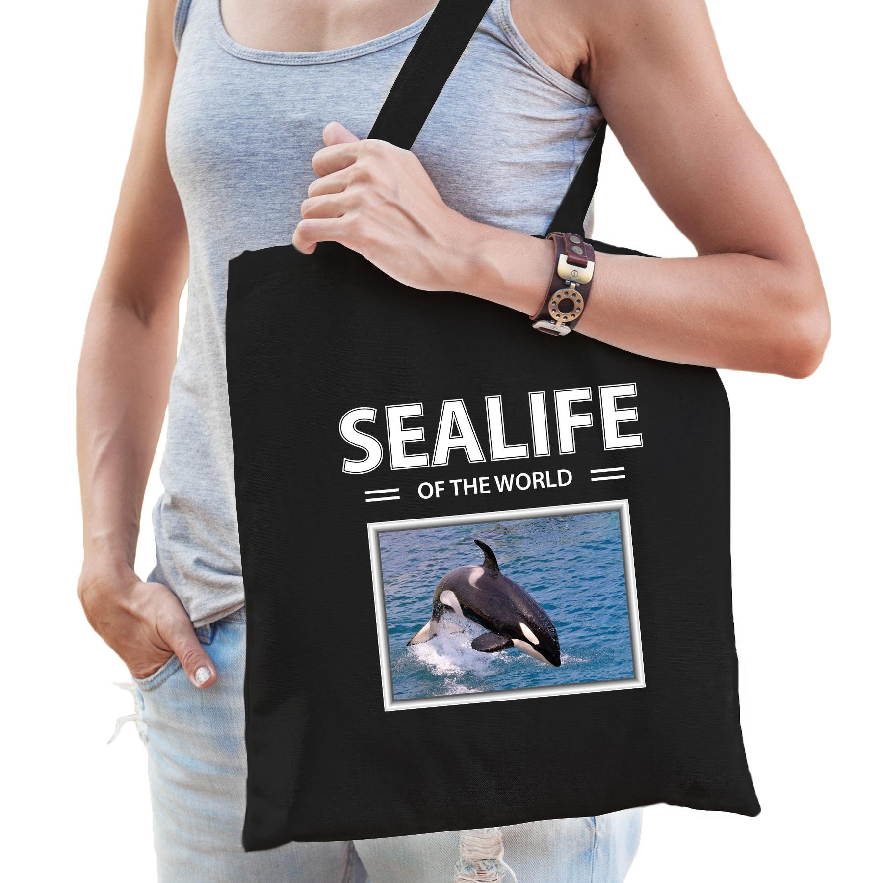 Katoenen tasje Orka zwart - sealife of the world Orkas cadeau tas