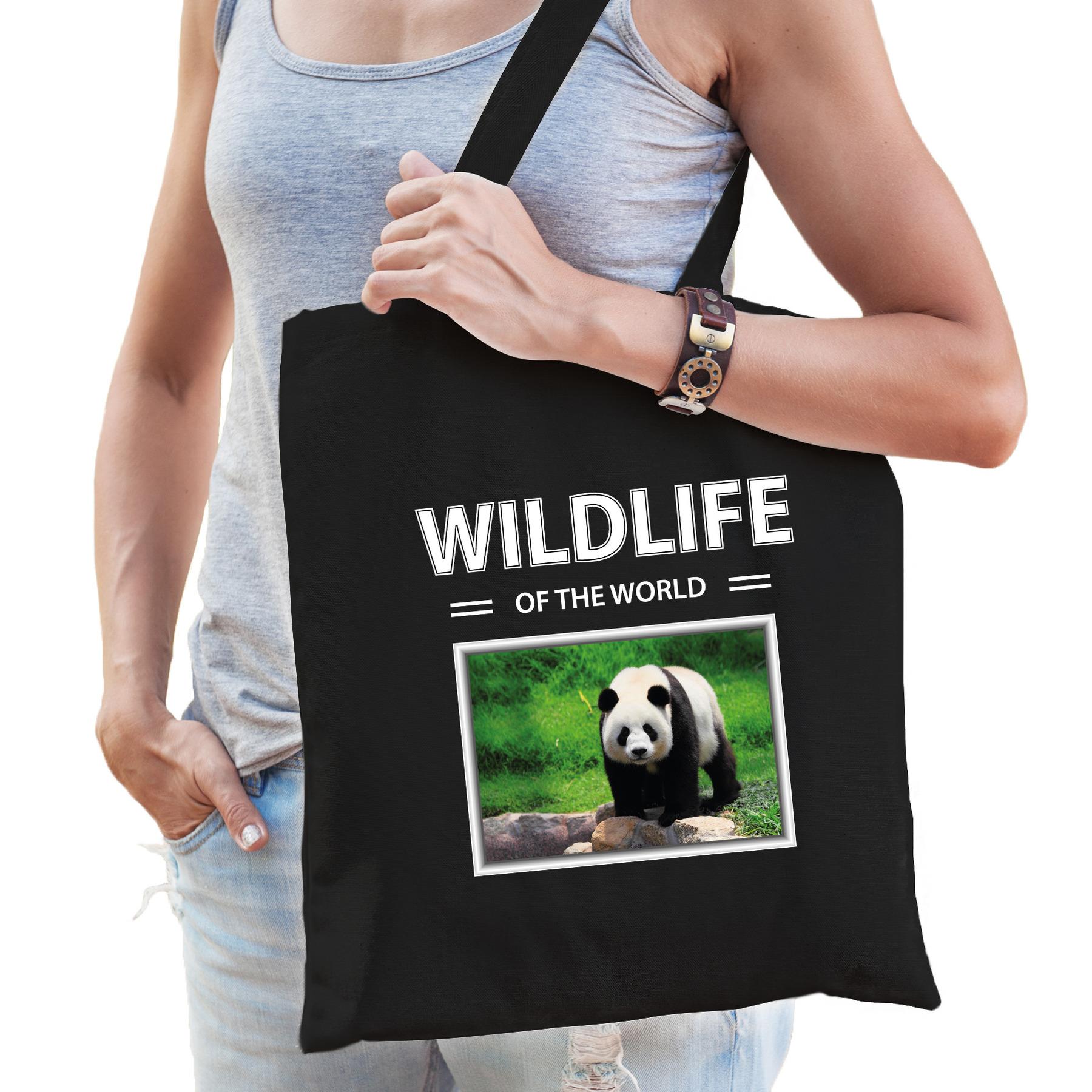 Katoenen tasje pandabeer zwart - wildlife of the world Panda cadeau tas