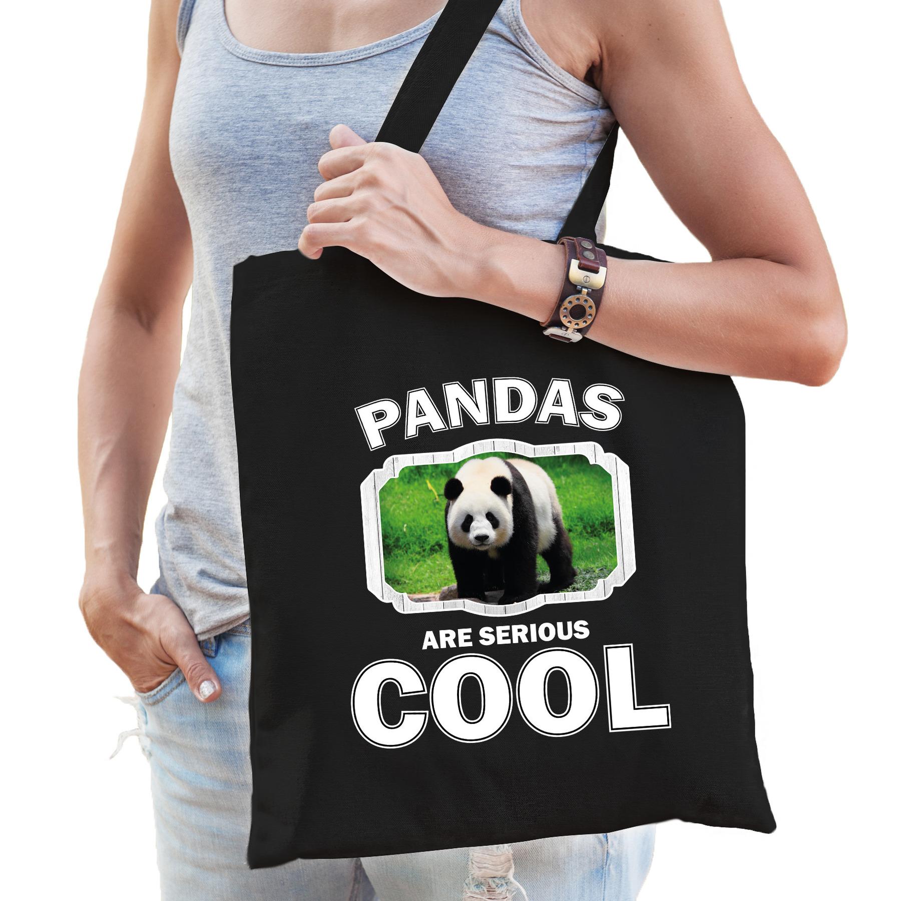 Katoenen tasje pandas are serious cool zwart - pandaberen/ grote panda cadeau tas