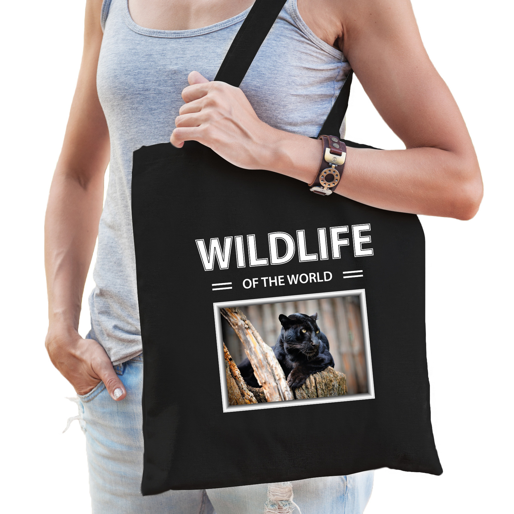 Katoenen tasje Panters zwart - wildlife of the world Zwarte panter cadeau tas