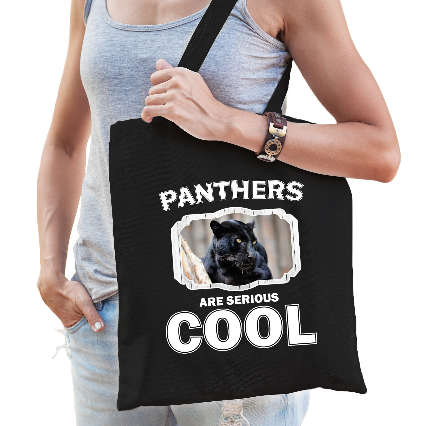 Katoenen tasje panthers are serious cool zwart - panters/ zwarte panter cadeau tas