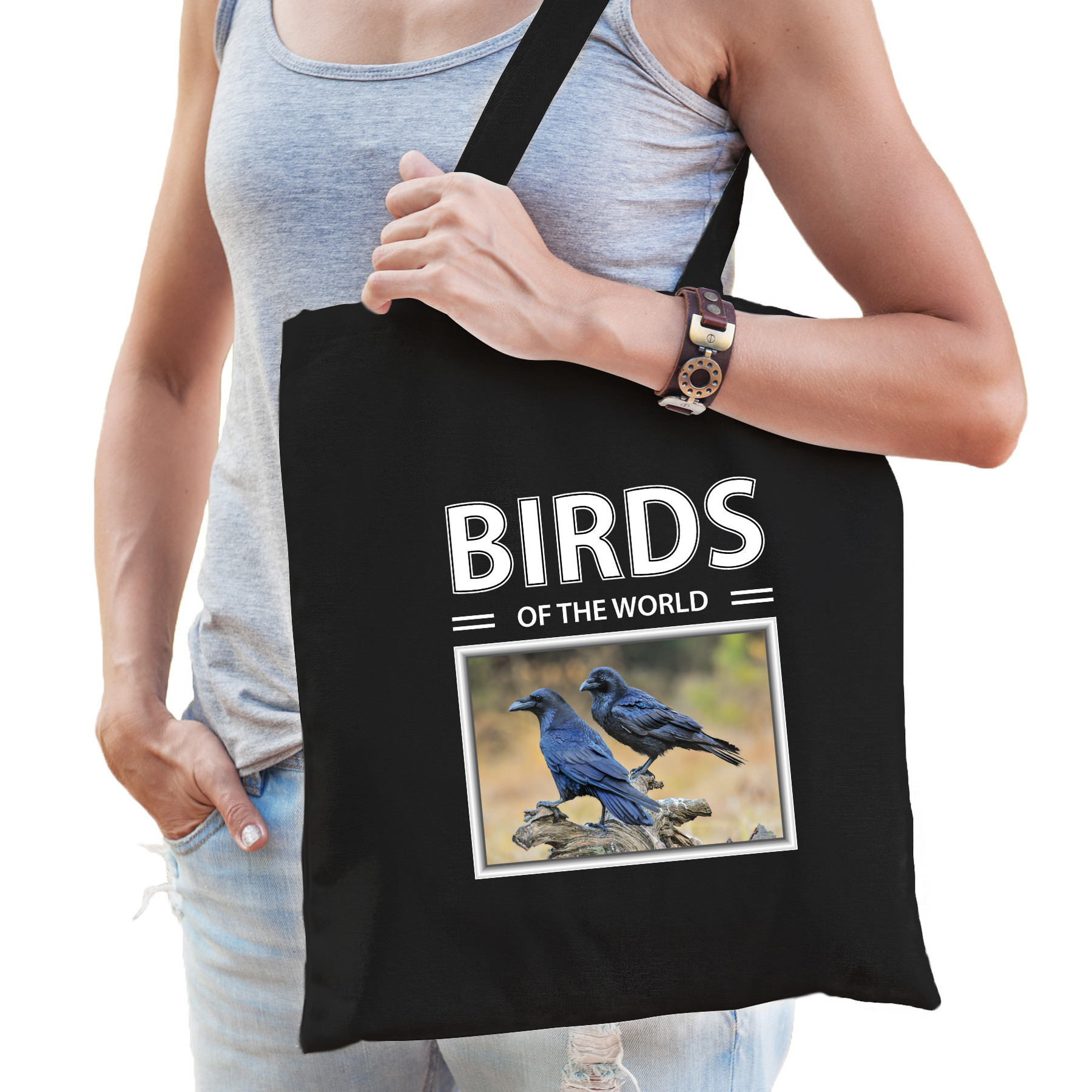 Katoenen tasje Raven vogel zwart - birds of the world Raaf cadeau tas