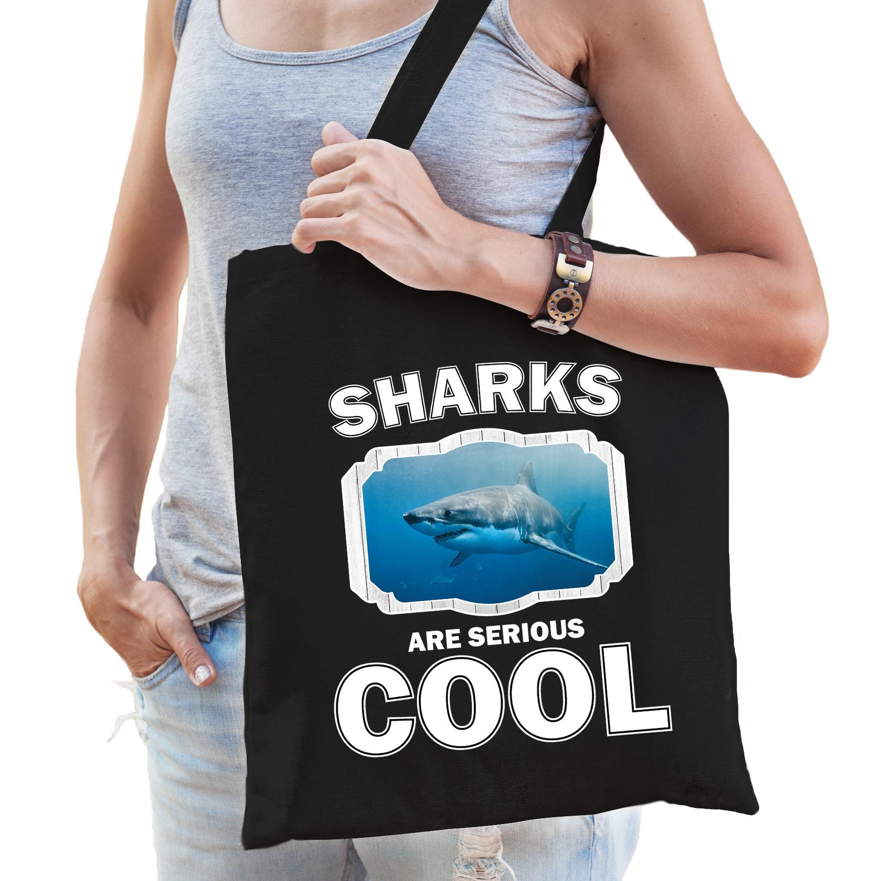 Katoenen tasje sharks are serious cool zwart - haaien/ haai cadeau tas