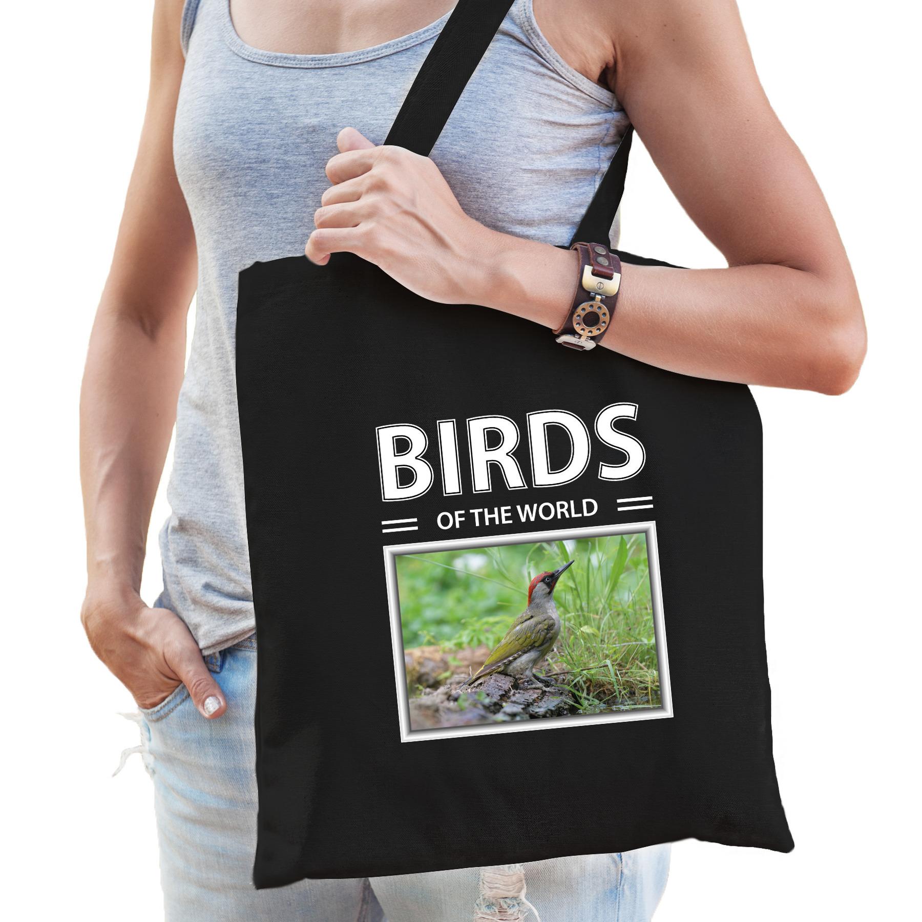 Katoenen tasje spechten vogel zwart - birds of the world groene specht cadeau tas