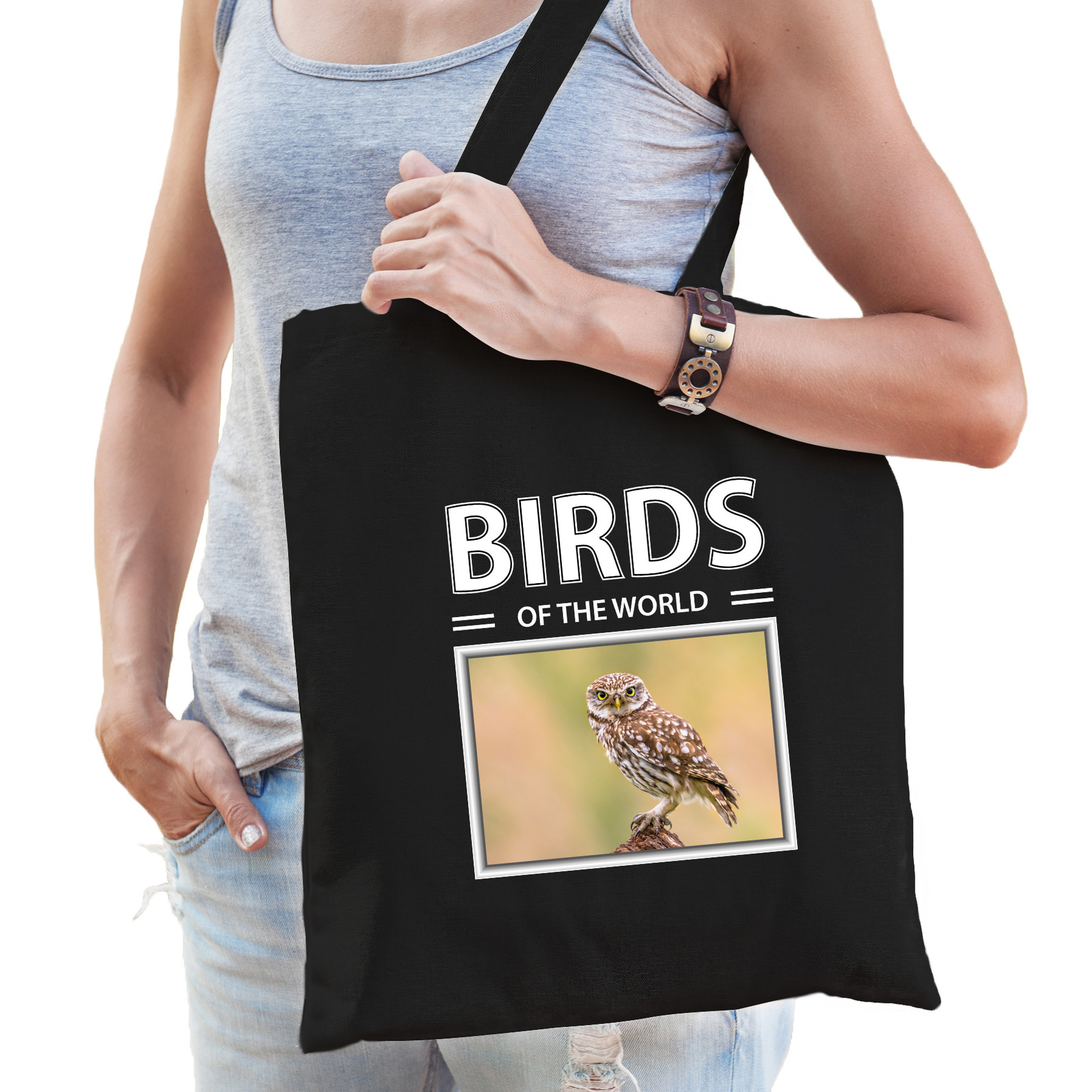 Katoenen tasje Steenuilen zwart - birds of the world Steenuil cadeau tas