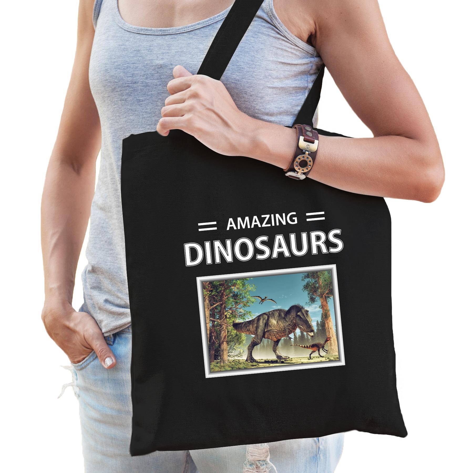 Katoenen tasje T-rex dinosaurus zwart - amazing dinosaurs T-rex dino cadeau tas
