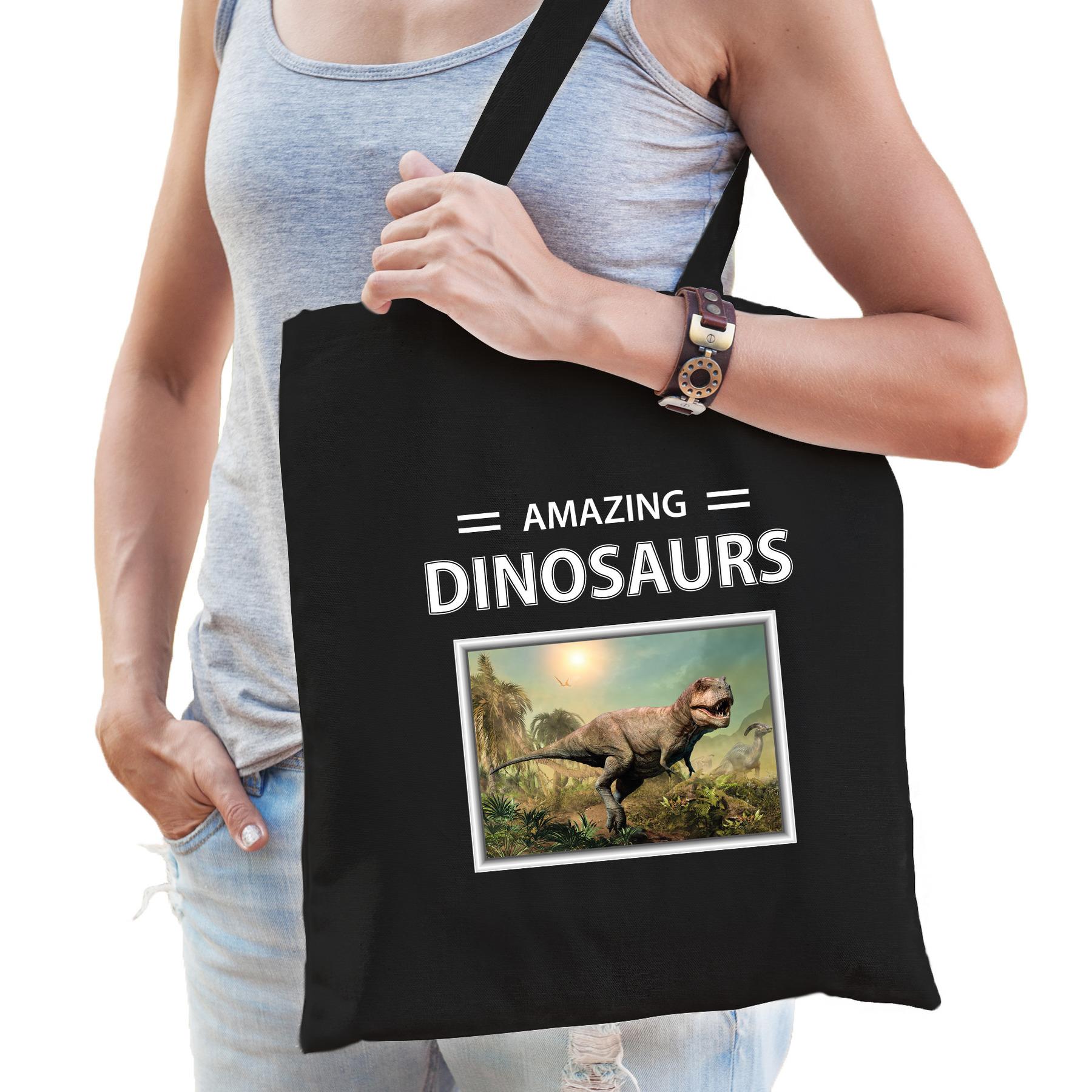 Katoenen tasje T-rex dinosaurus zwart - amazing dinosaurs tyrannosaurus dino cadeau tas