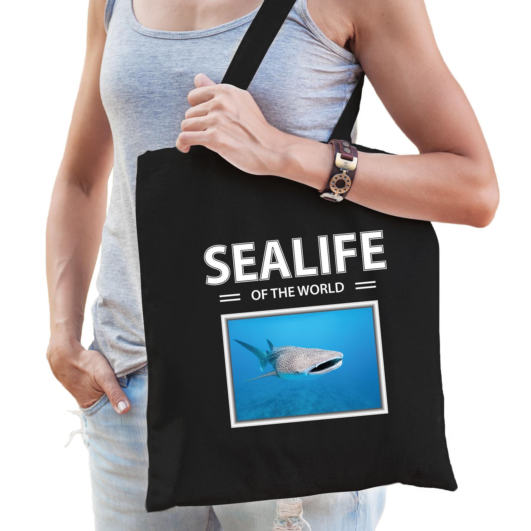 Katoenen tasje Tijgerhaai zwart - sealife of the world Haaien cadeau tas