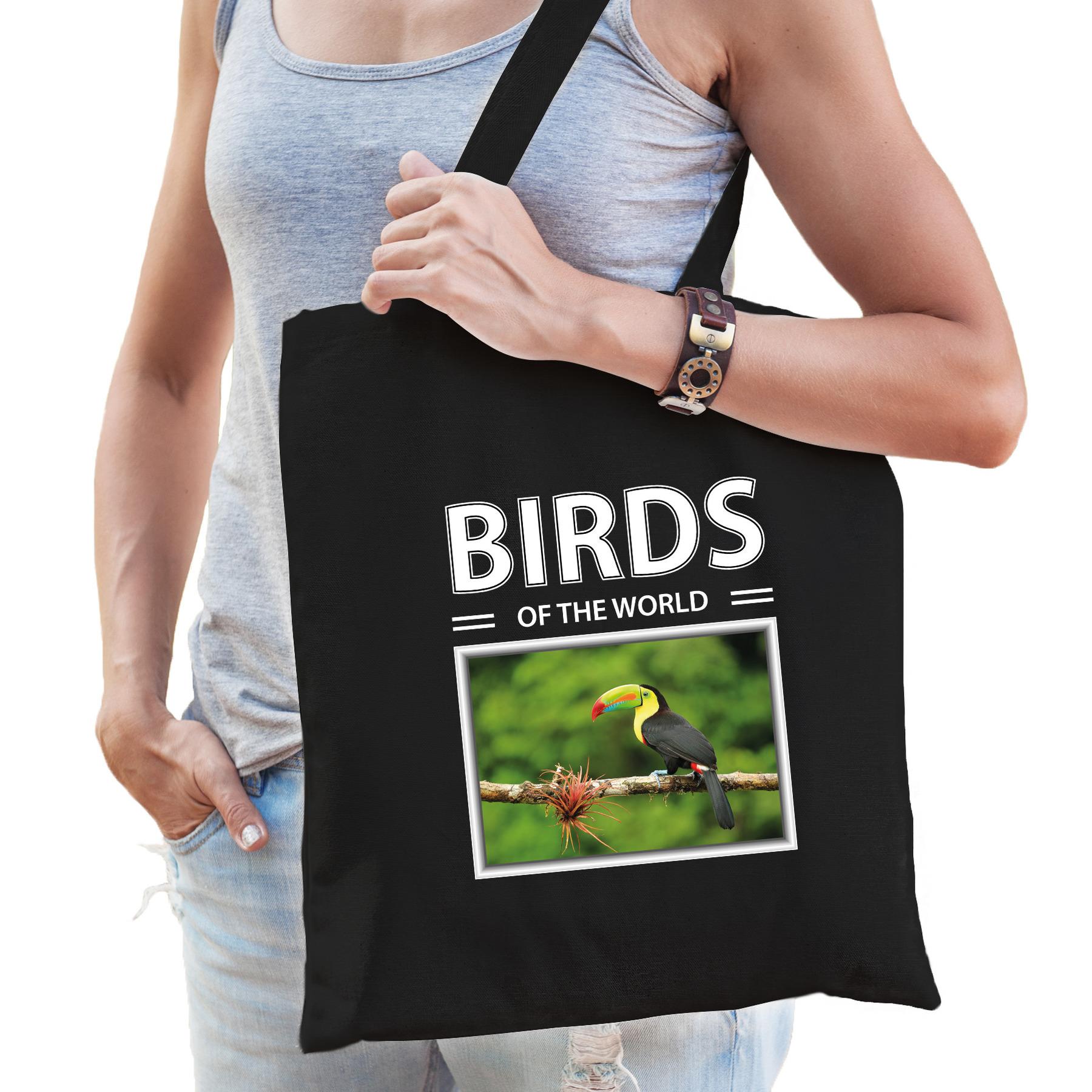 Katoenen tasje Toekans vogels zwart - birds of the world Toekan cadeau tas