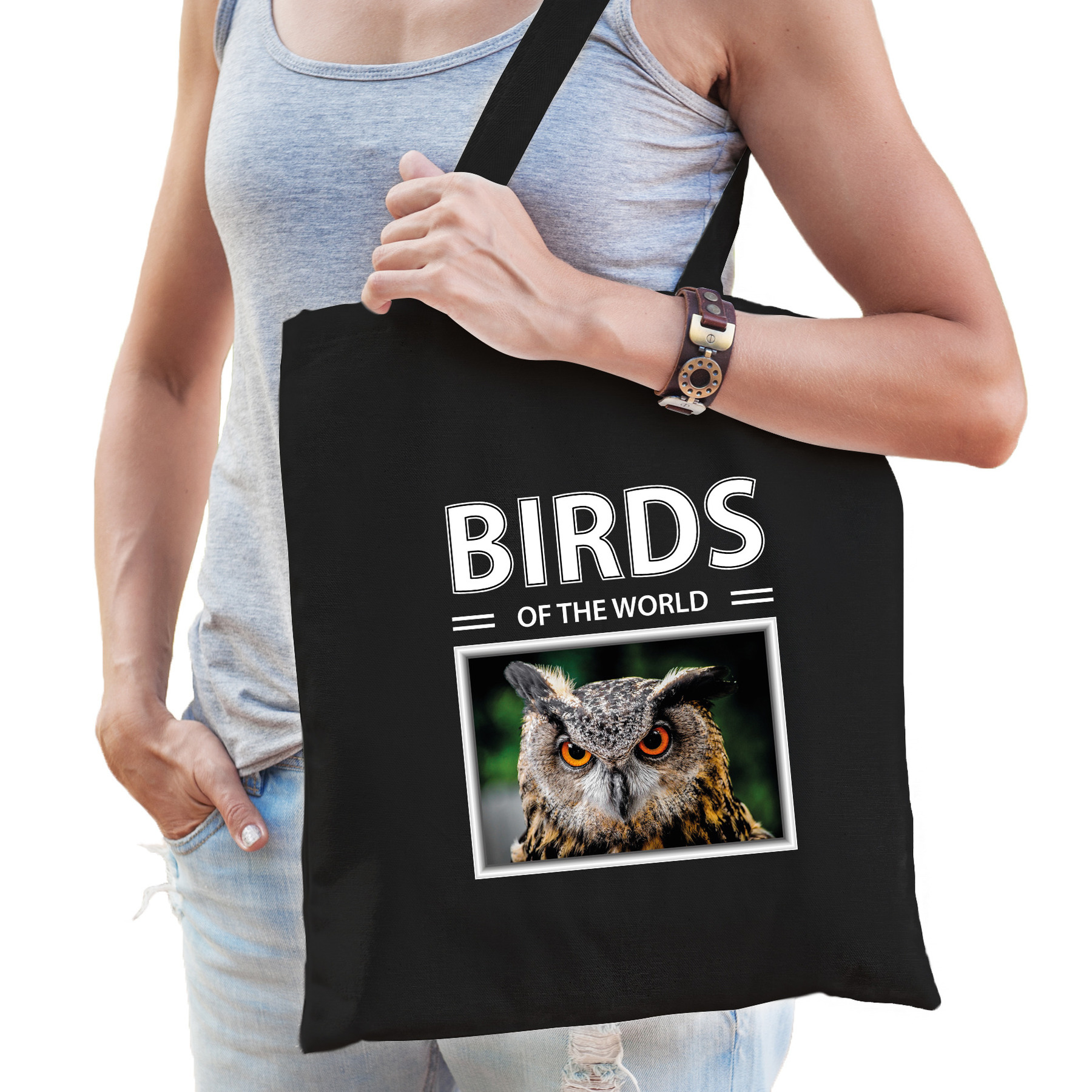 Katoenen tasje Uilen zwart - birds of the world Uil cadeau tas