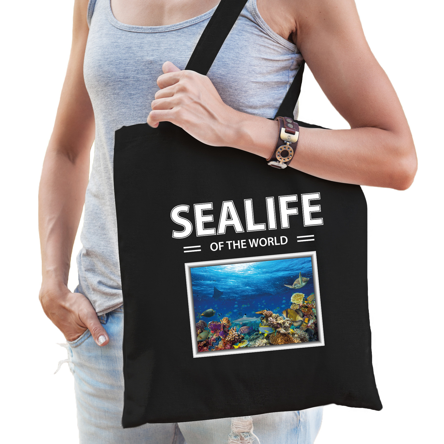 Katoenen tasje Vis zwart - sealife of the world Vissen cadeau tas