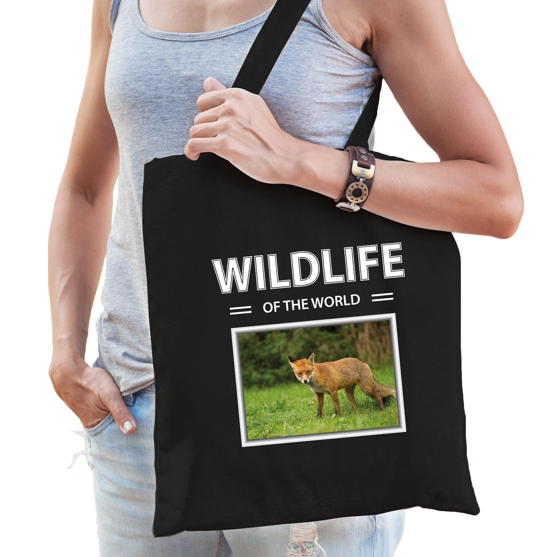 Katoenen tasje Vossen zwart - wildlife of the world Vos cadeau tas