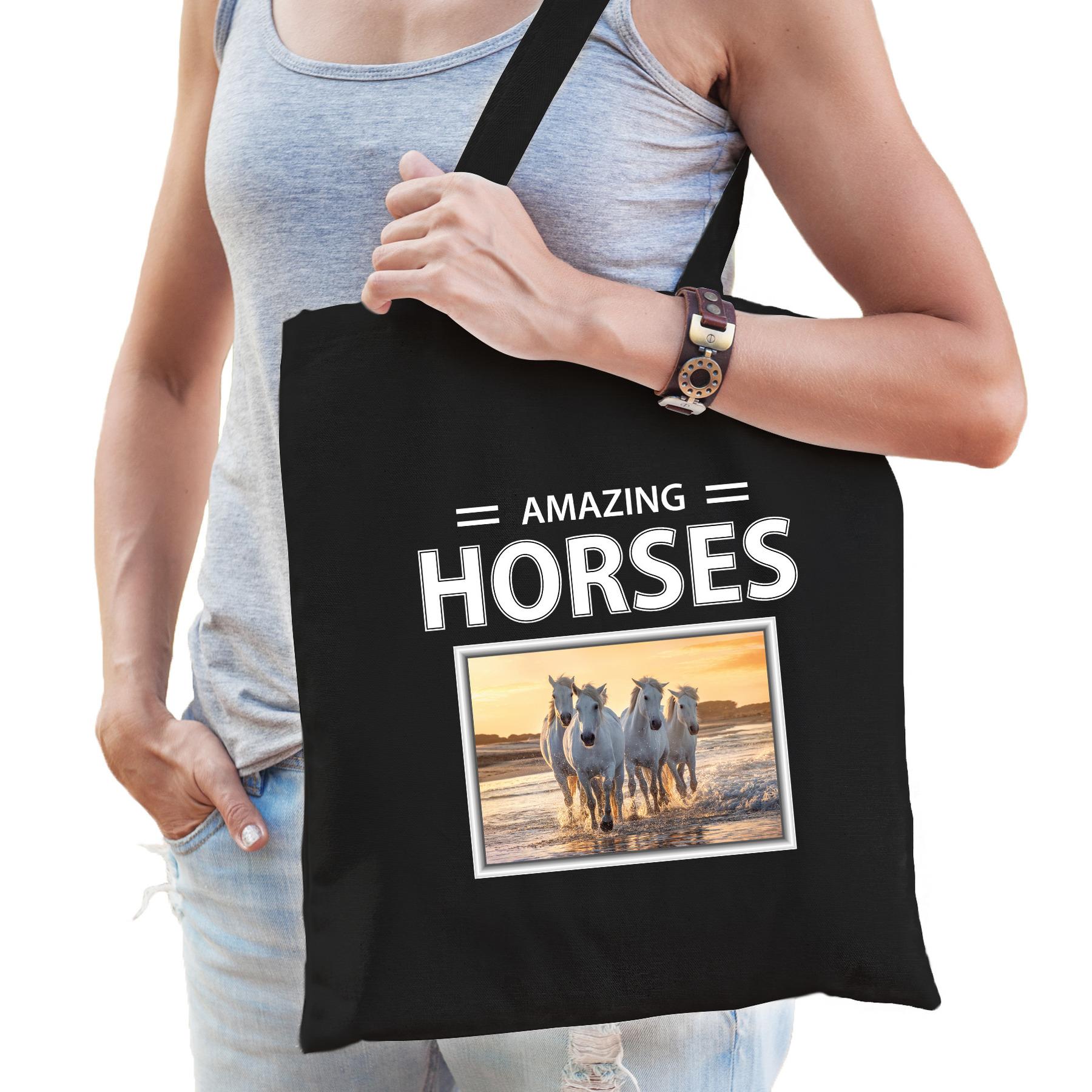 Katoenen tasje Witte paarden zwart - amazing horses wit paard cadeau tas