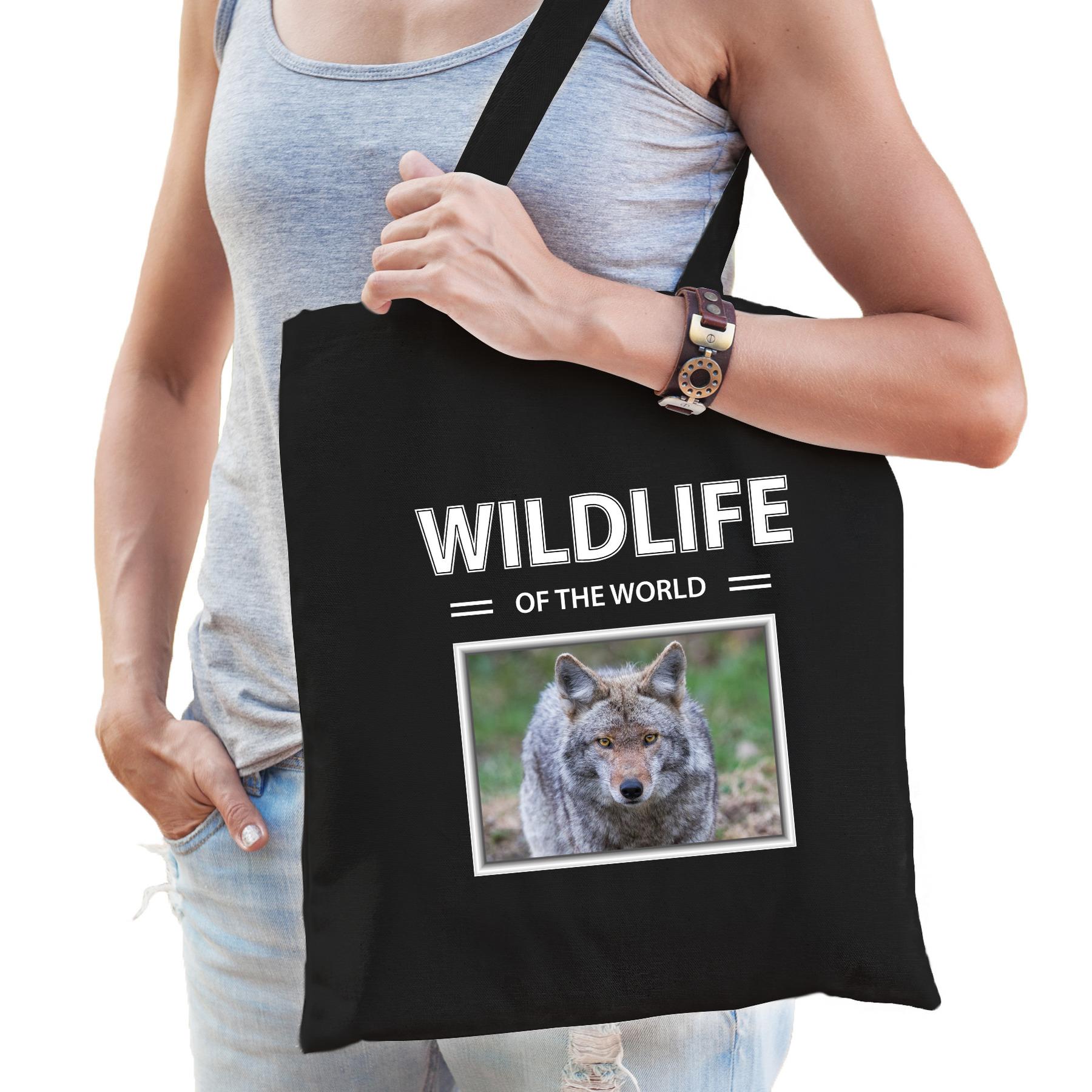 Katoenen tasje Wolven zwart - wildlife of the world Wolf cadeau tas