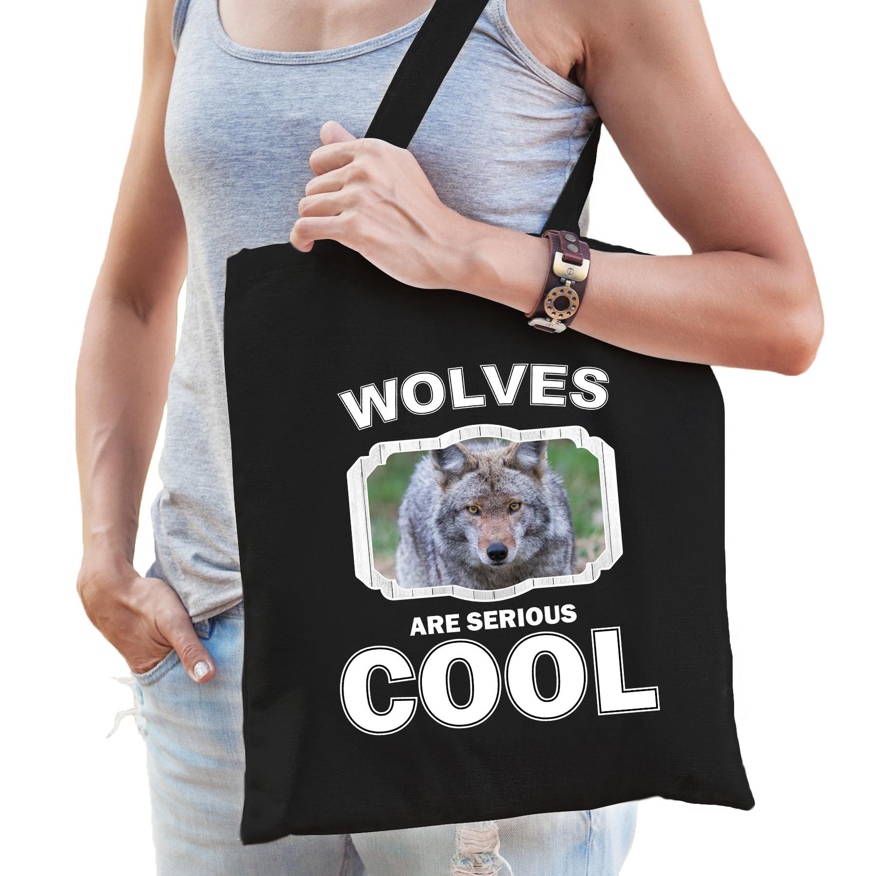 Katoenen tasje wolves are serious cool zwart - wolven/ wolf cadeau tas