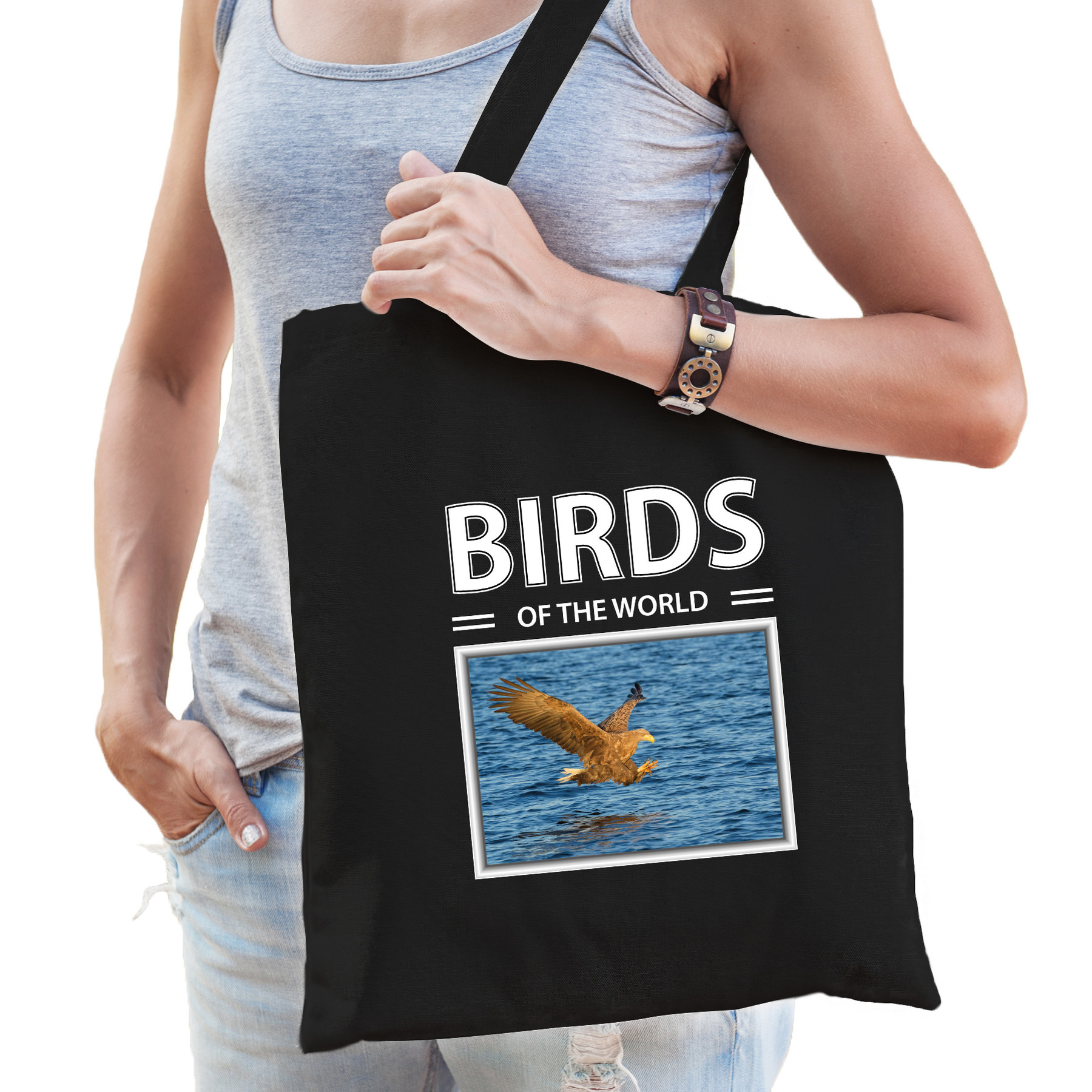 Katoenen tasje Zeearenden roofvogel zwart - birds of the world Zeearend cadeau tas